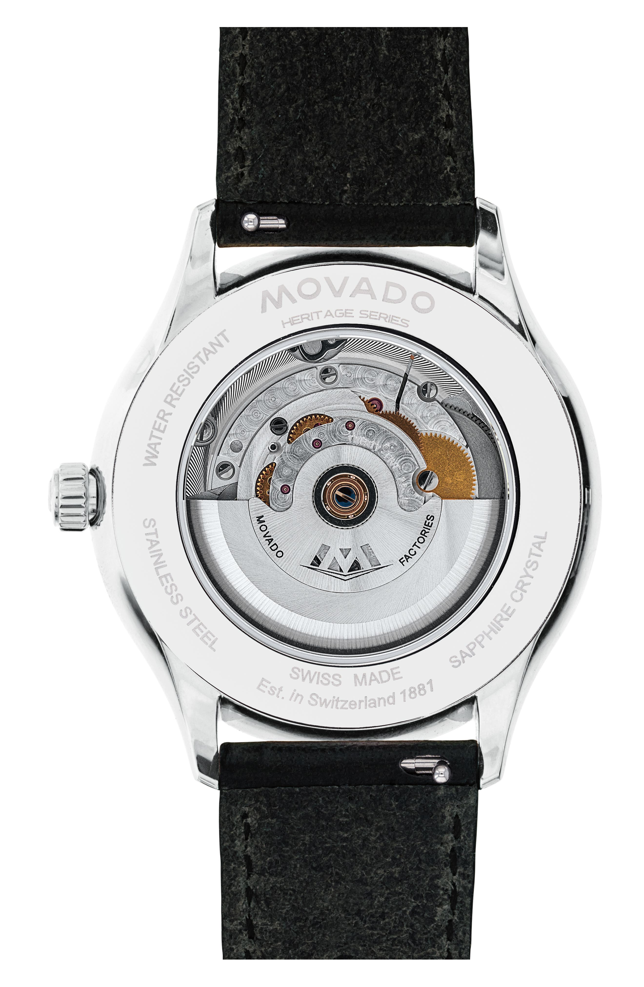 MOVADO, Heritage Leather Strap Watch, 40mm, Alternate thumbnail 2, color, BLACK/ NAVY/ SILVER