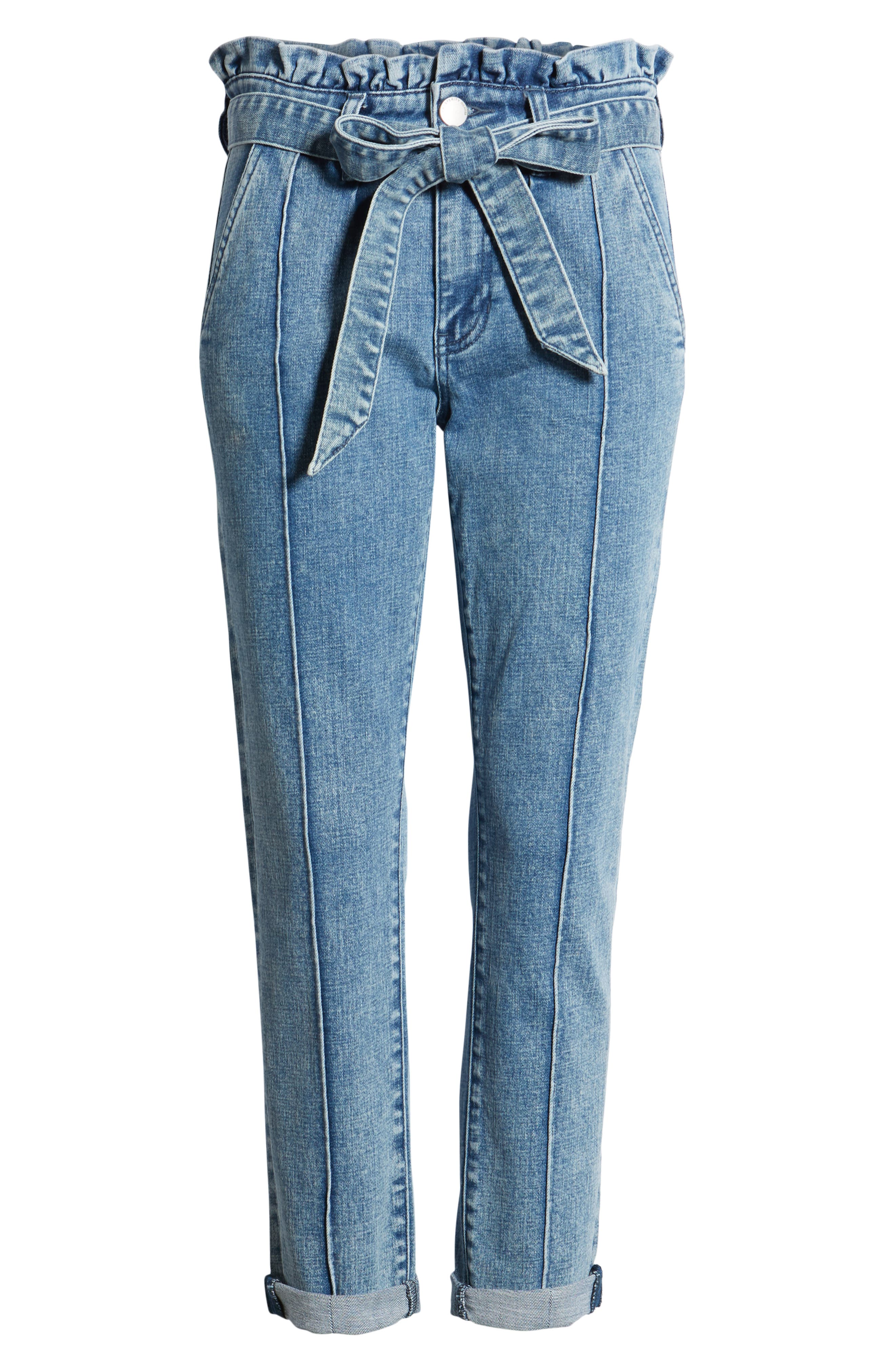 PROSPERITY DENIM, Paperbag Waist Crop Skinny Jeans, Alternate thumbnail 7, color, MEDIUM LIGHT WASH