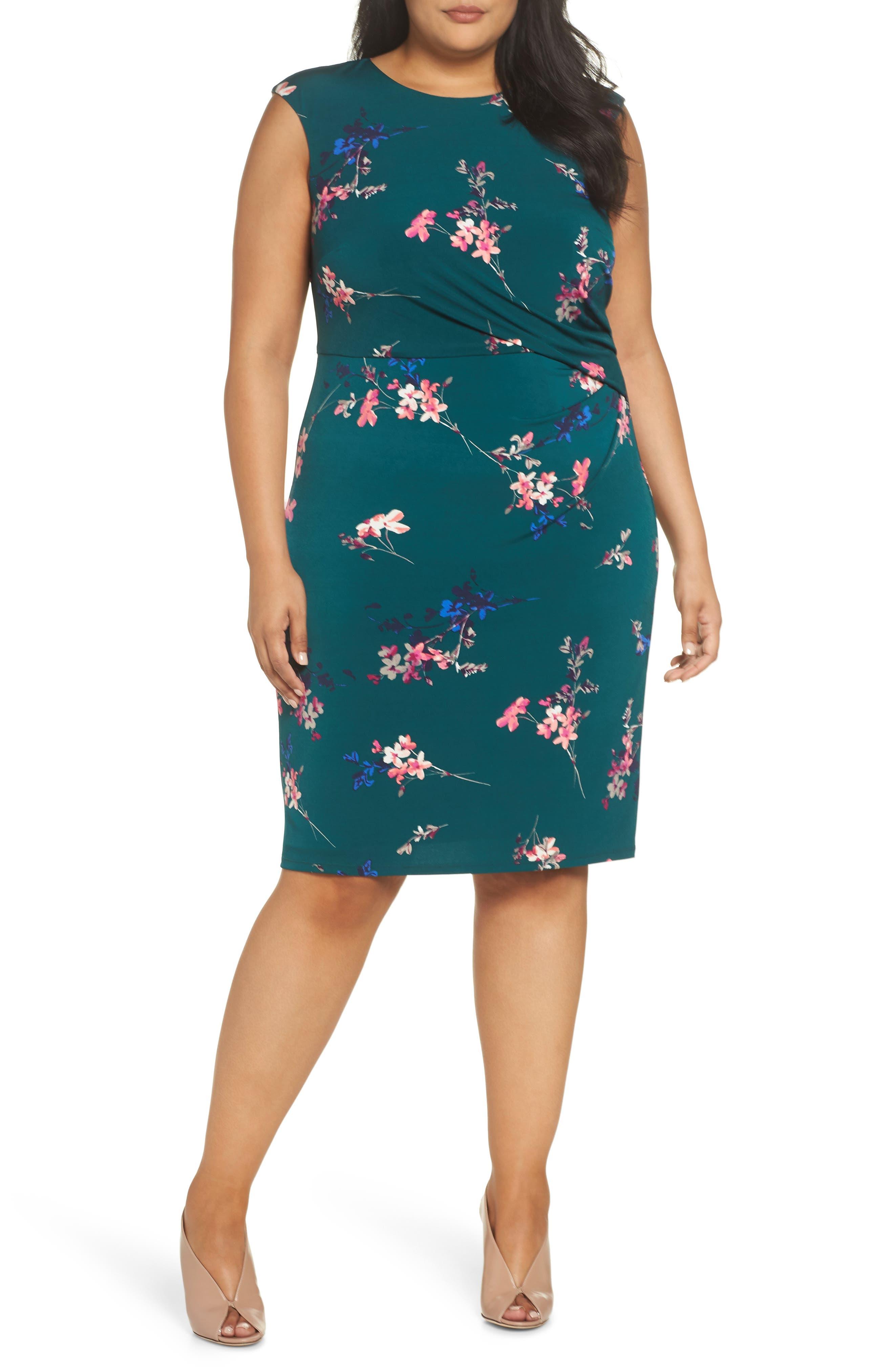 ELIZA J, Floral Print Cap Sleeve Sheath Dress, Main thumbnail 1, color, GREEN