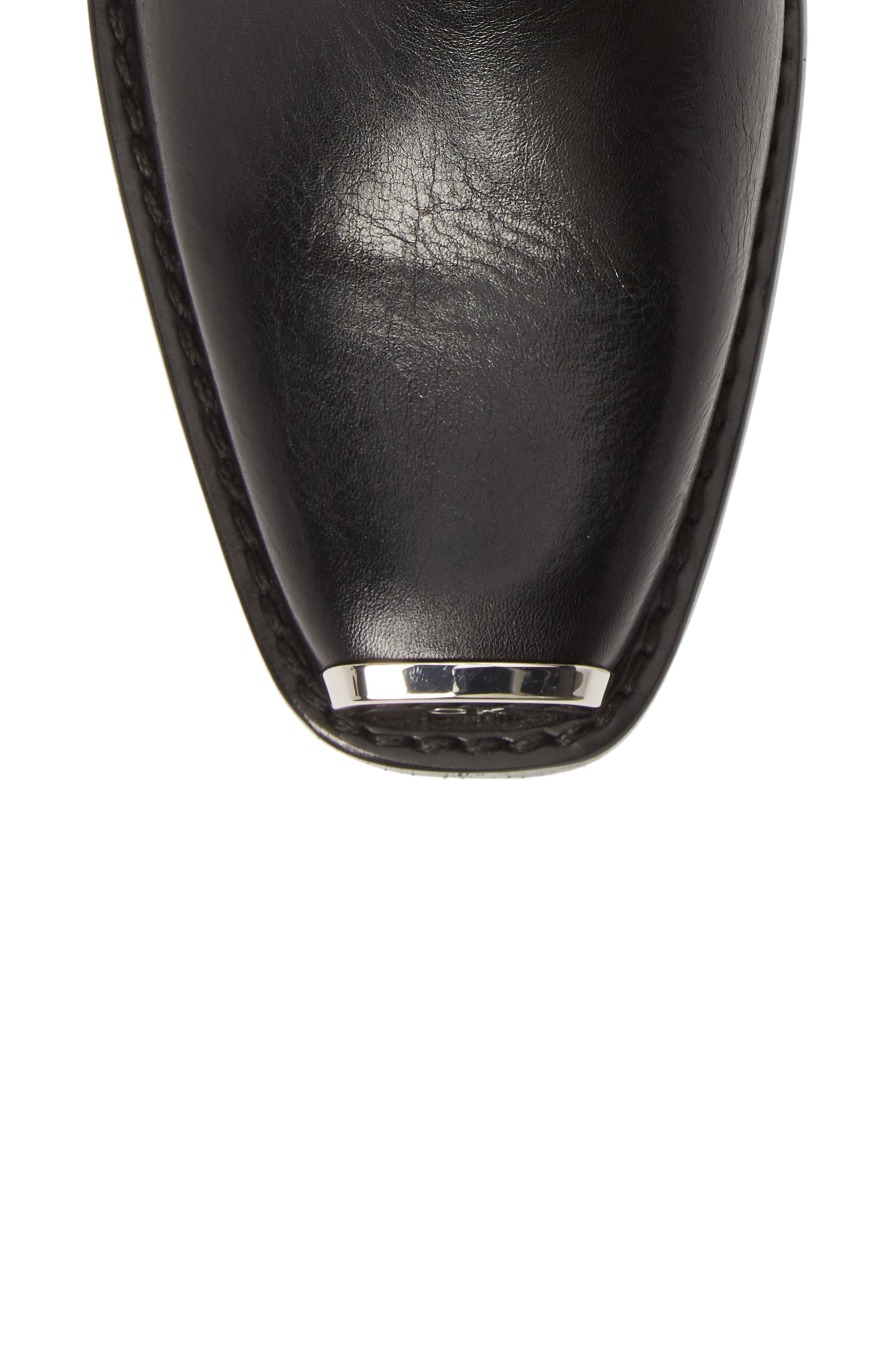 CALVIN KLEIN 205W39NYC, Claire Western Chelsea Boot, Alternate thumbnail 5, color, BLACK/ RED