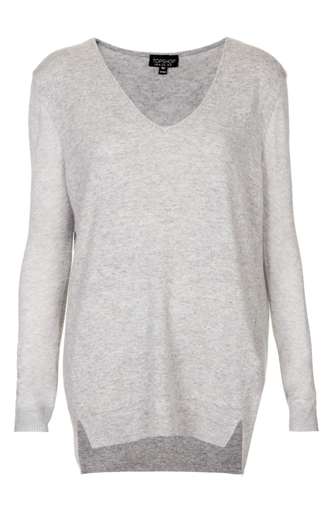 TOPSHOP, Sheer Sleeve Tunic Sweater, Alternate thumbnail 2, color, 050