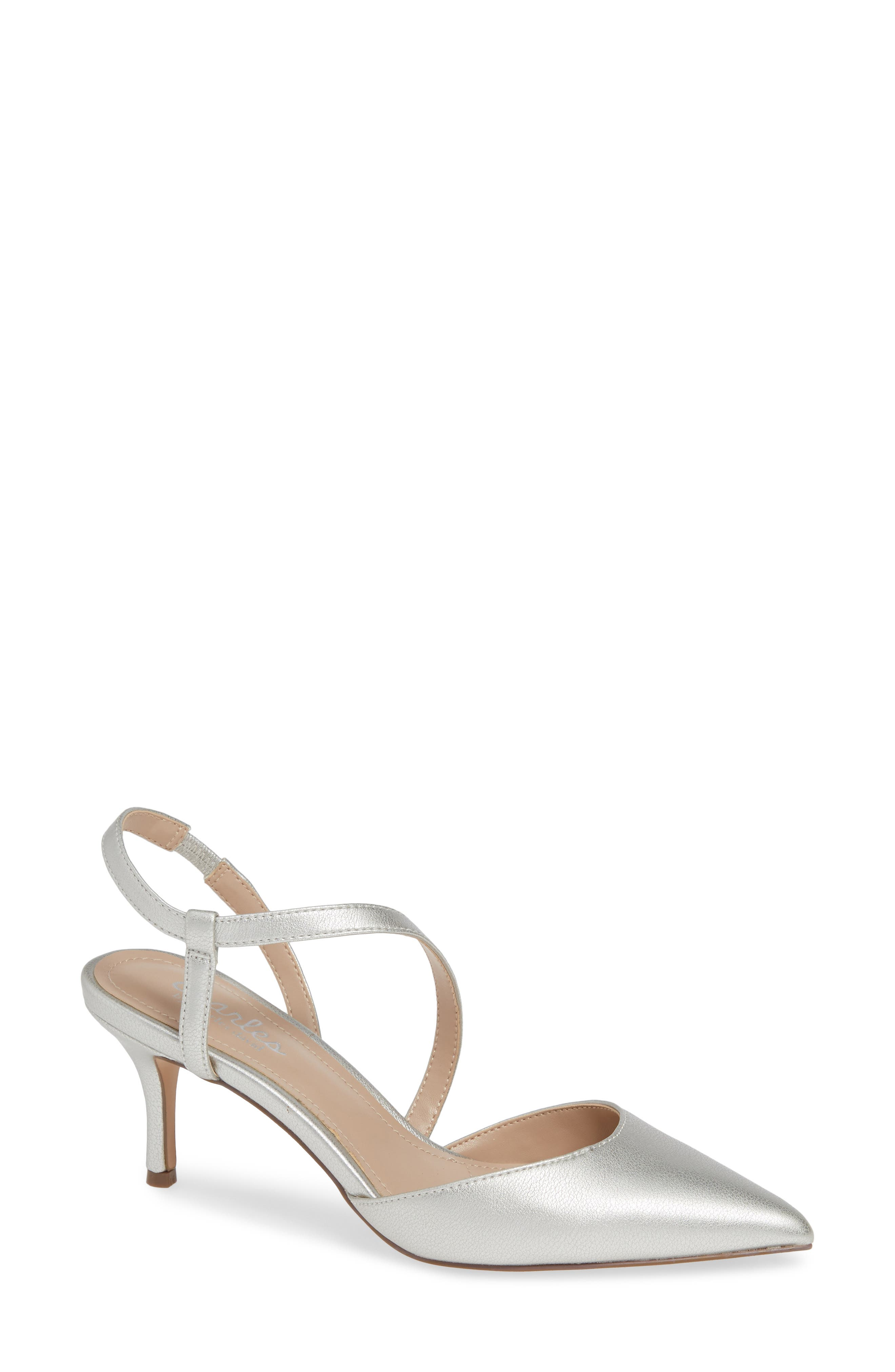 CHARLES BY CHARLES DAVID, Alda Pump, Main thumbnail 1, color, SILVER FAUX LEATHER