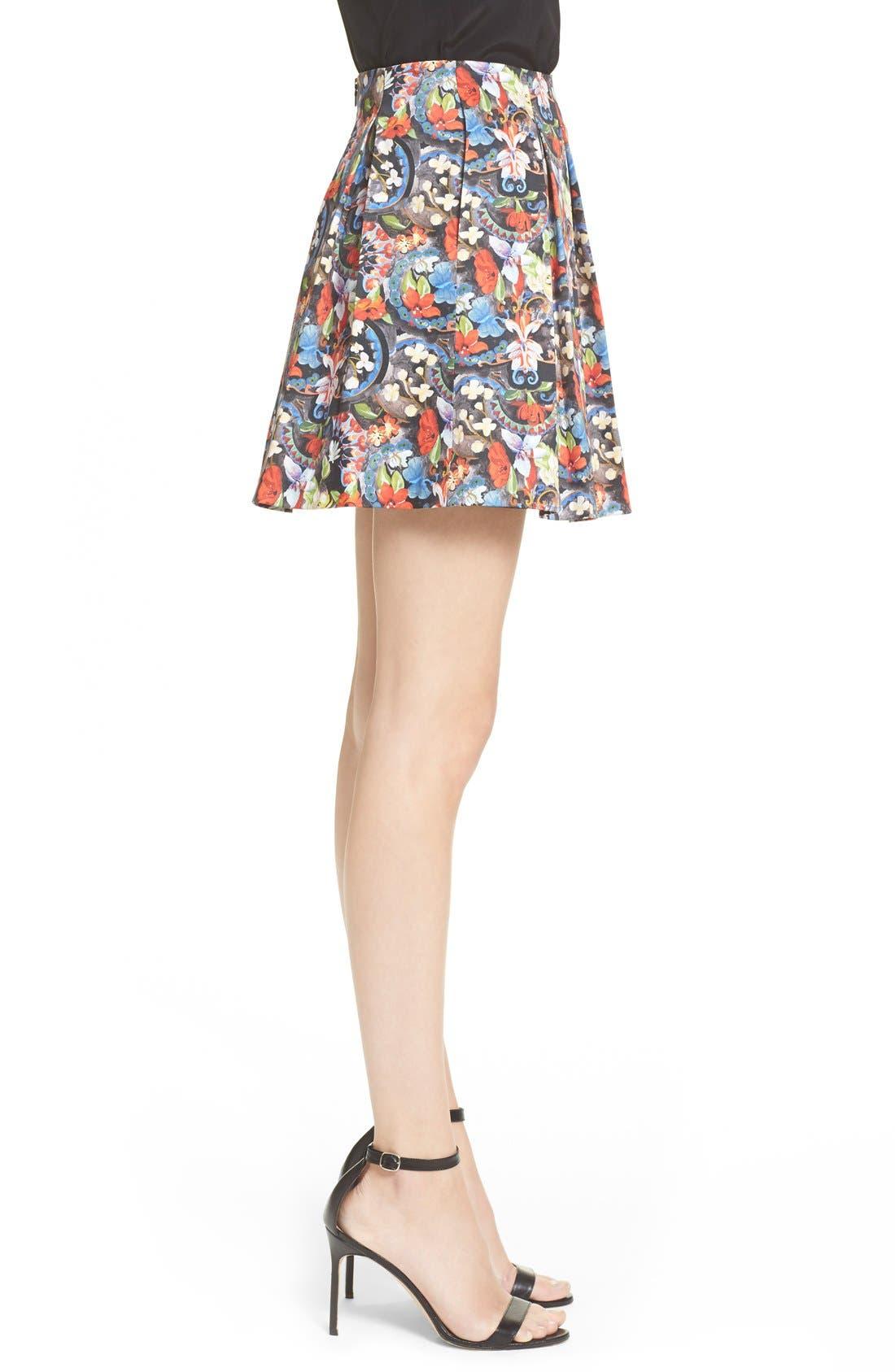 ALICE + OLIVIA, 'Parson' Floral Print Pleated Miniskirt, Alternate thumbnail 5, color, 605
