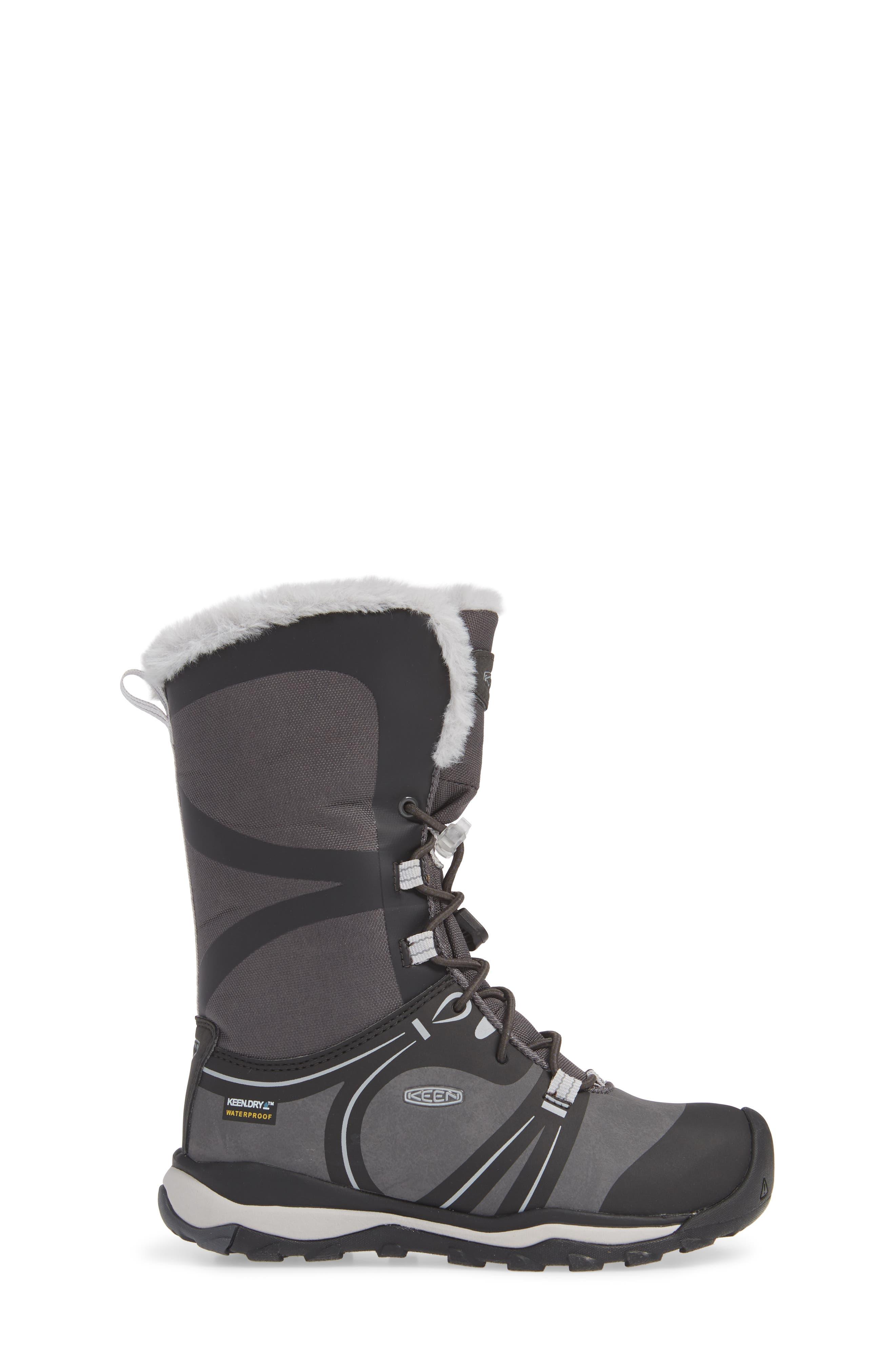 KEEN, Terradora Faux Fur Trim Waterproof Snow Boot, Alternate thumbnail 3, color, RAVEN/ VAPOR