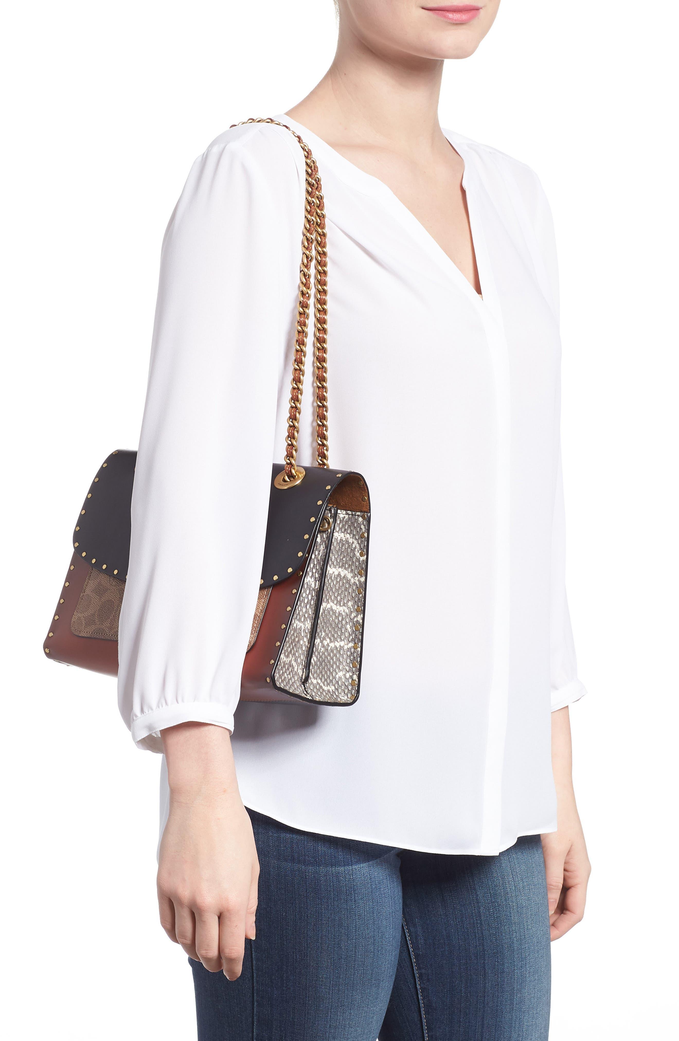 COACH, Parker Leather & Genuine Snakeskin Shoulder Bag, Alternate thumbnail 2, color, BLACK MULTI