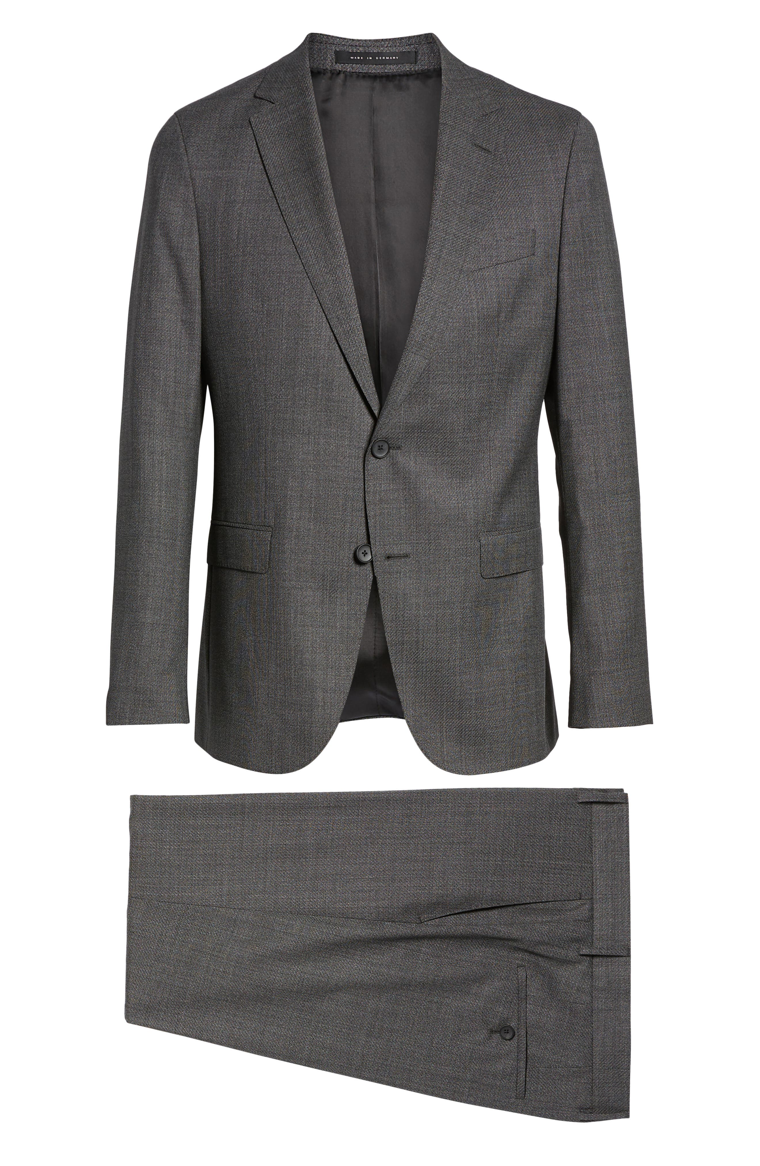 BOSS, Novan/Ben Slim Fit Solid Wool Suit, Alternate thumbnail 8, color, 063