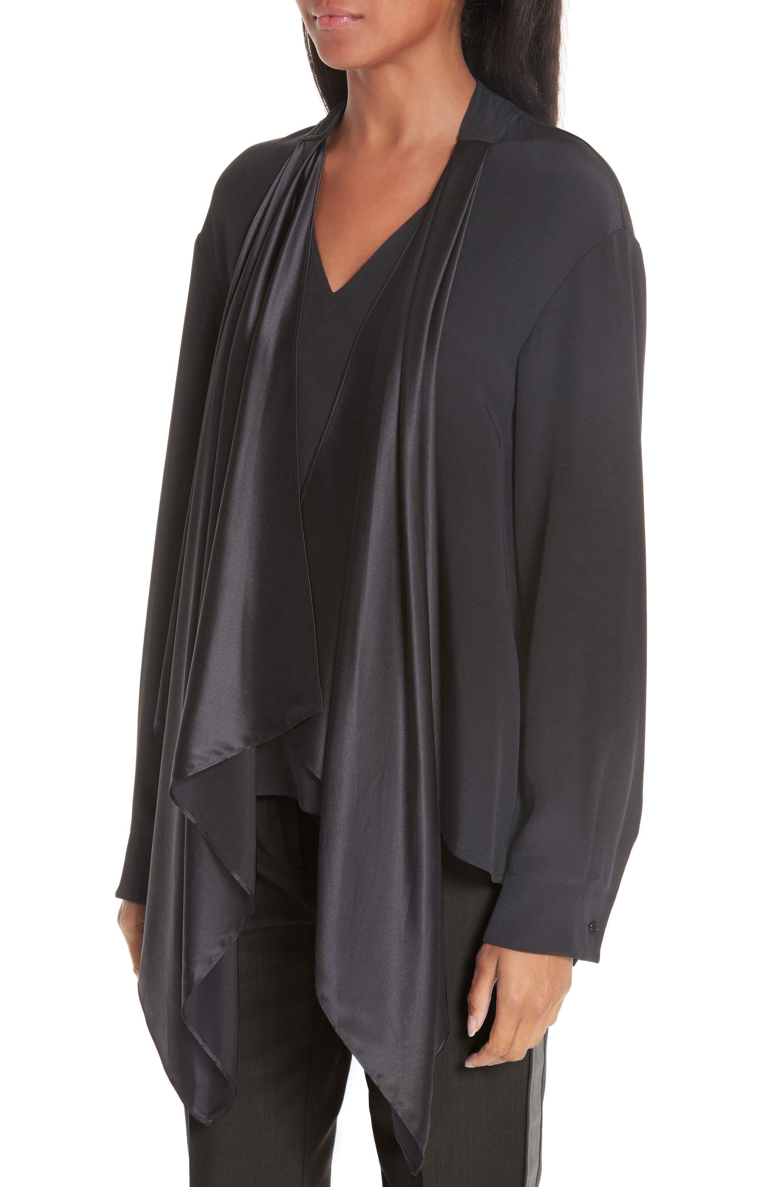 CALVIN KLEIN 205W39NYC, Satin Tie Neck Silk Blouse, Alternate thumbnail 5, color, BLACK
