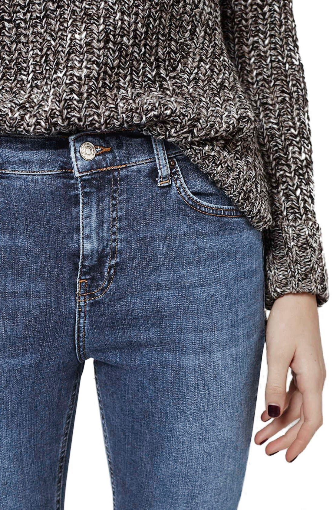 TOPSHOP, 'Jamie' High Rise Ankle Skinny Jeans, Alternate thumbnail 6, color, MID DENIM