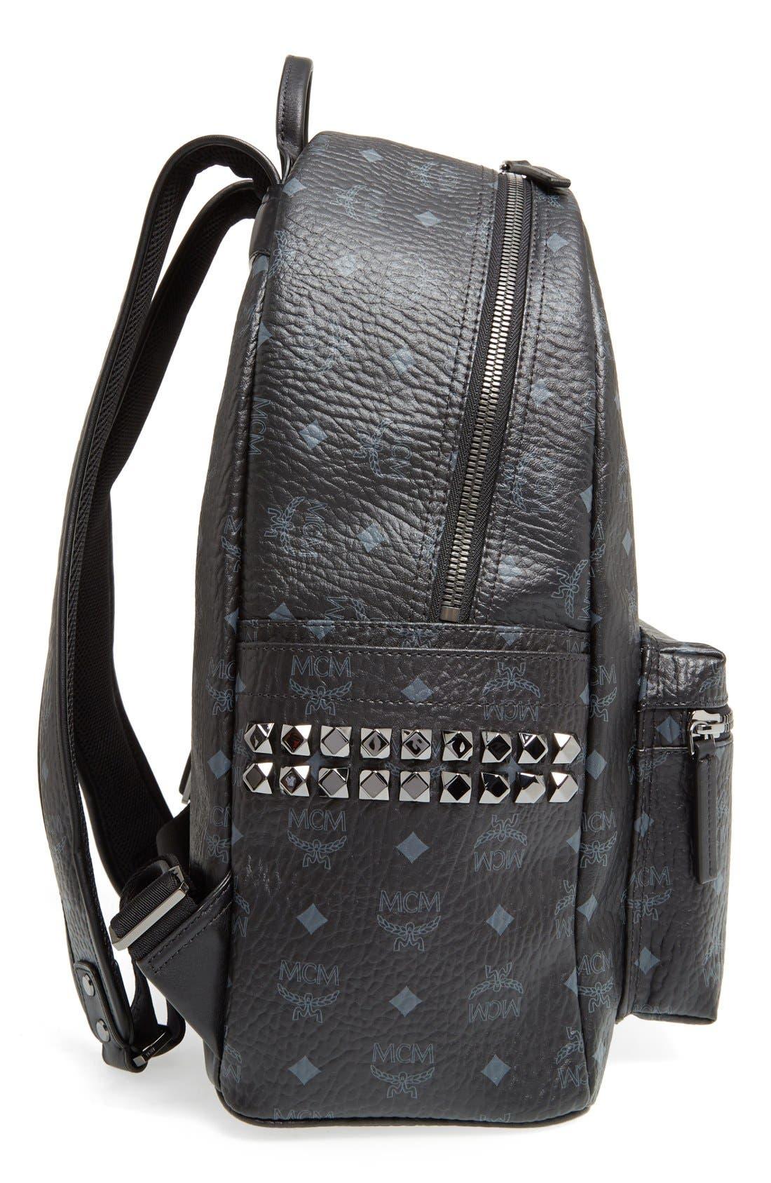 MCM, Medium Stark Visetos Coated Canvas Backpack, Alternate thumbnail 5, color, BLACK