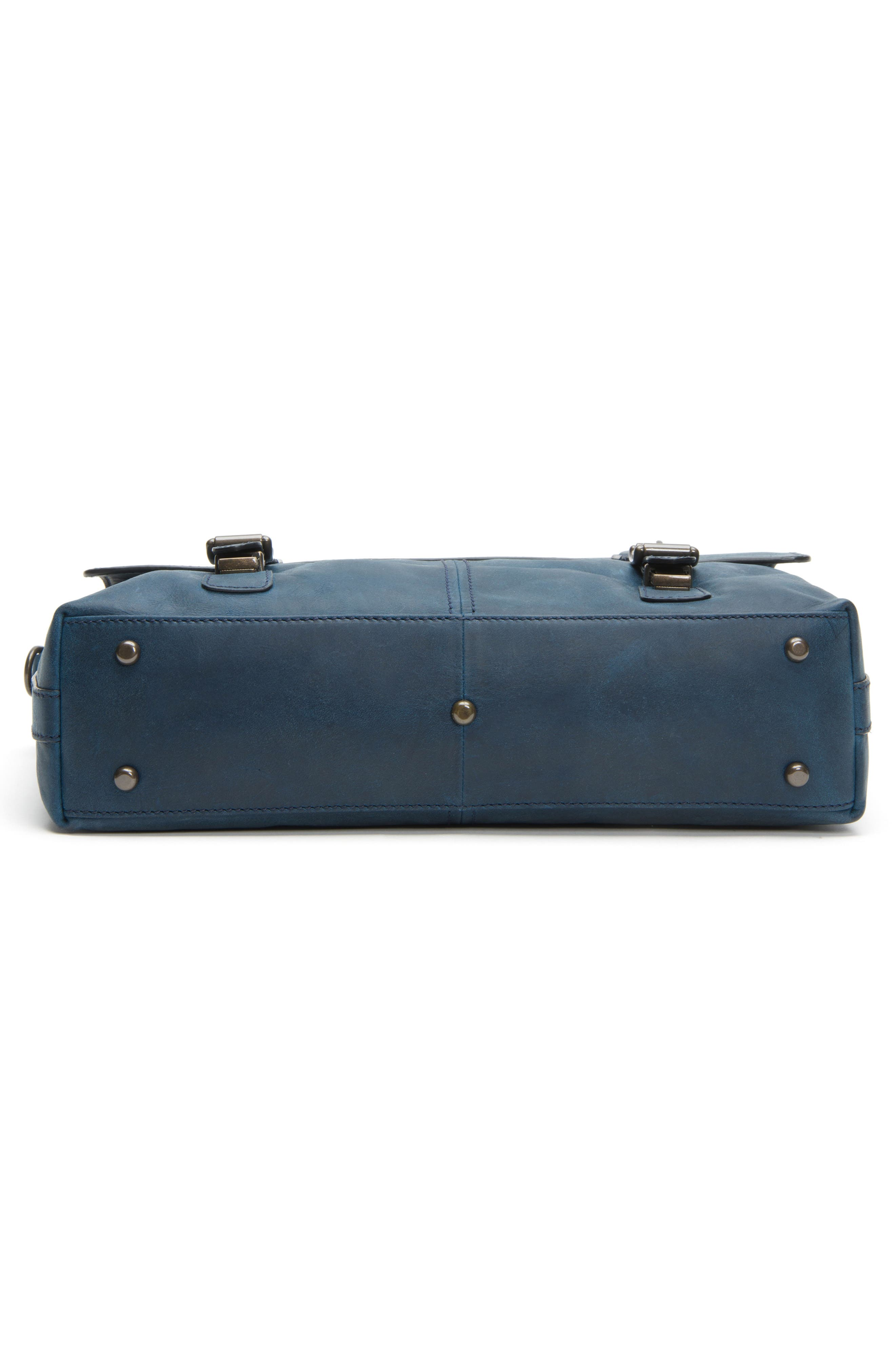 FRYE, Logan Leather Briefcase, Alternate thumbnail 7, color, NAVY