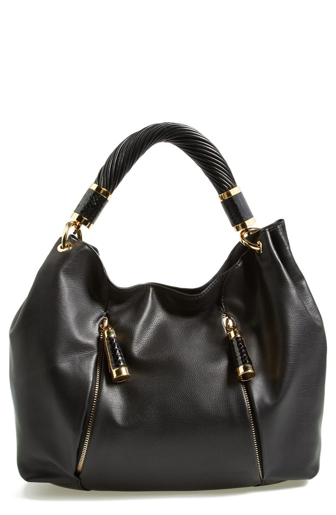 MICHAEL KORS 'Tonne' Leather Hobo, Main, color, 001