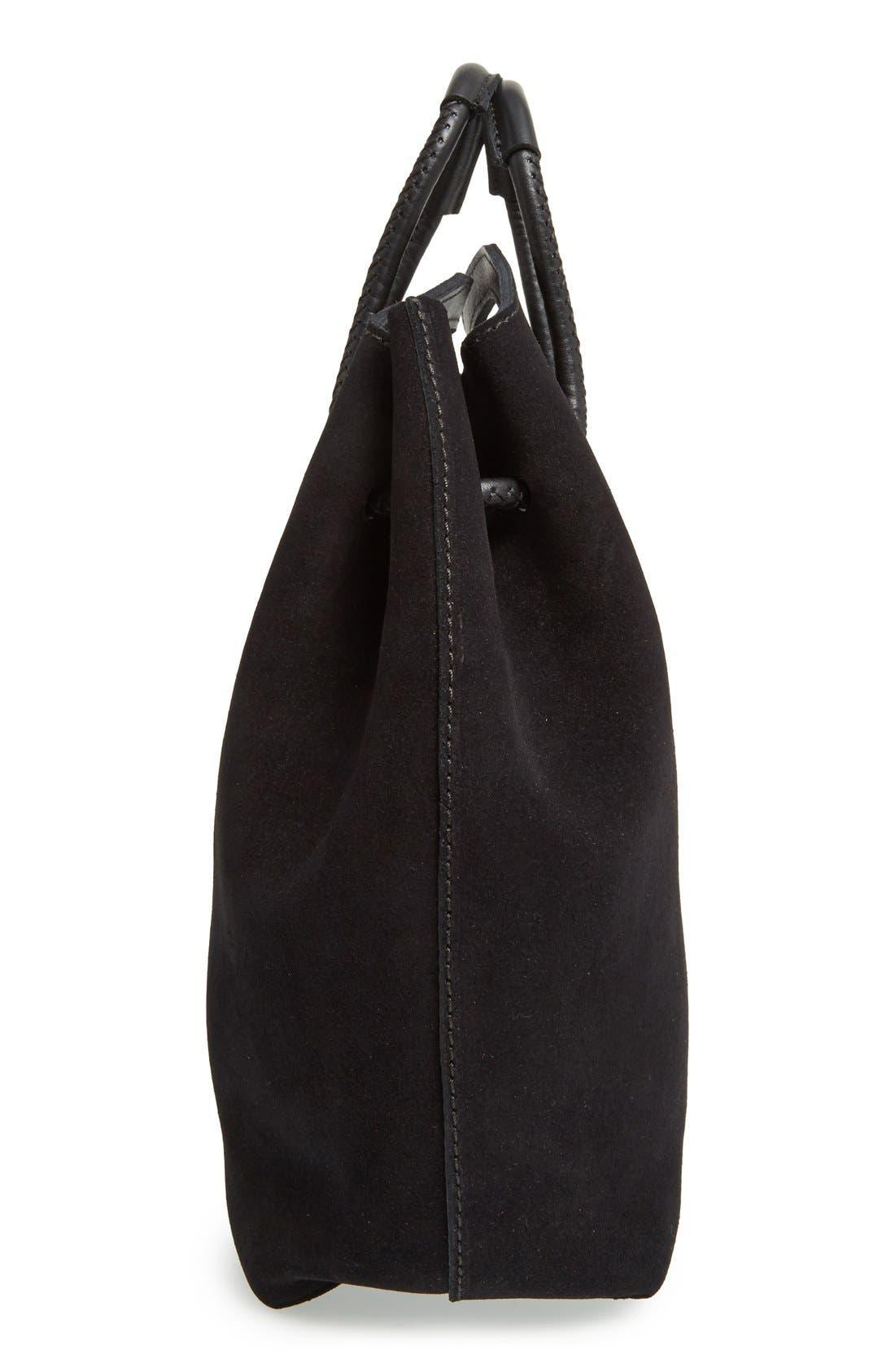 PEDRO GARCIA, Suede Drawstring Bucket Bag, Alternate thumbnail 5, color, 002