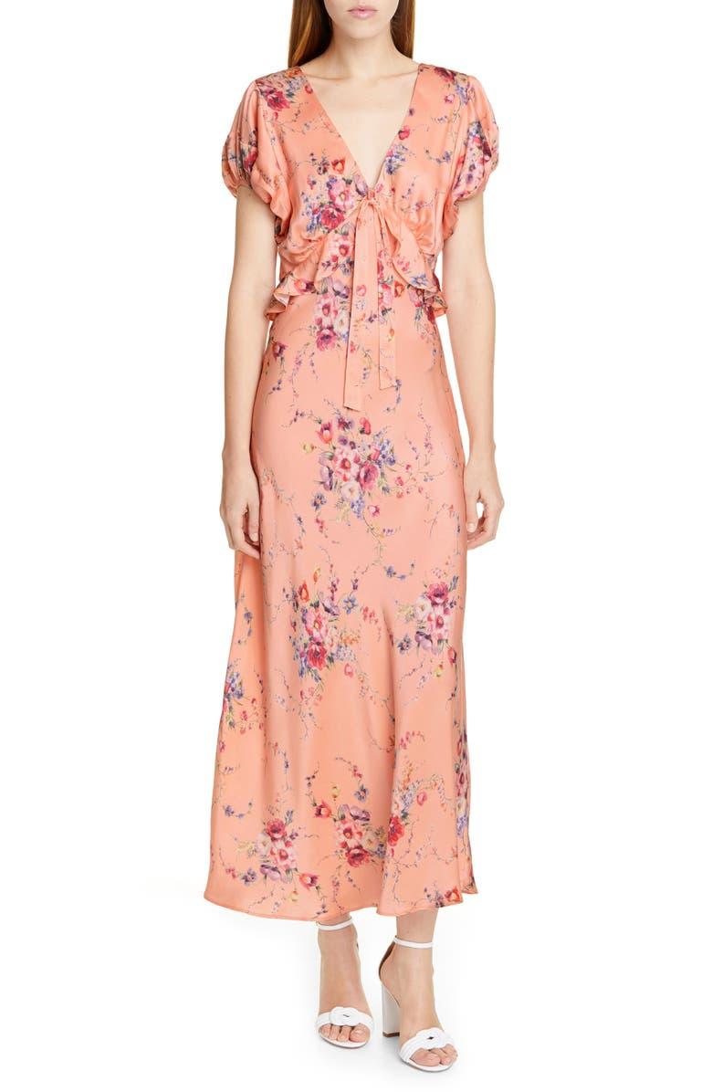 Loveshackfancy Dresses LILLIAN FLORAL SILK MAXI DRESS