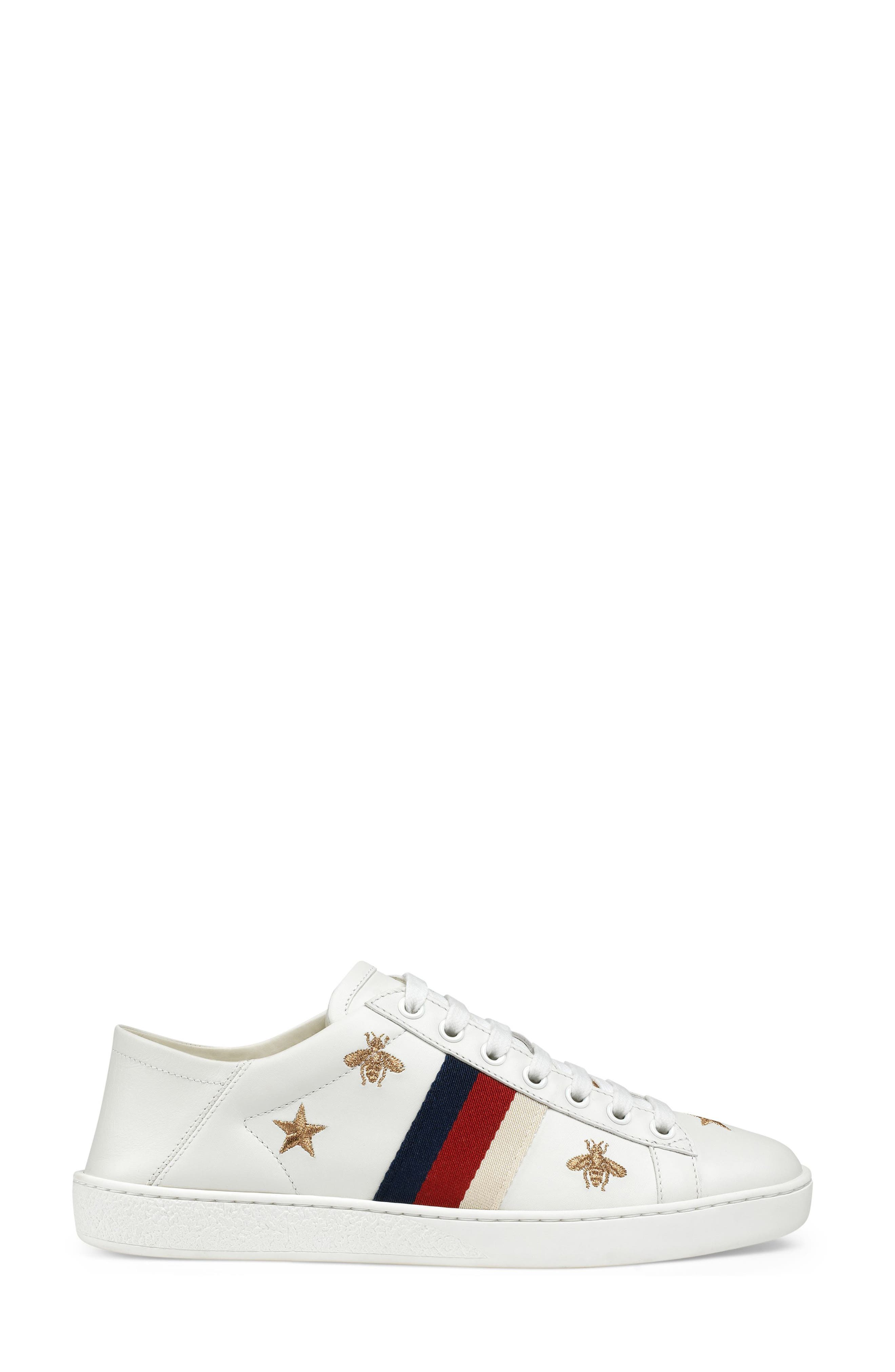 GUCCI, New Ace Convertible Heel Sneaker, Main thumbnail 1, color, WHITE/ BEE PRINT