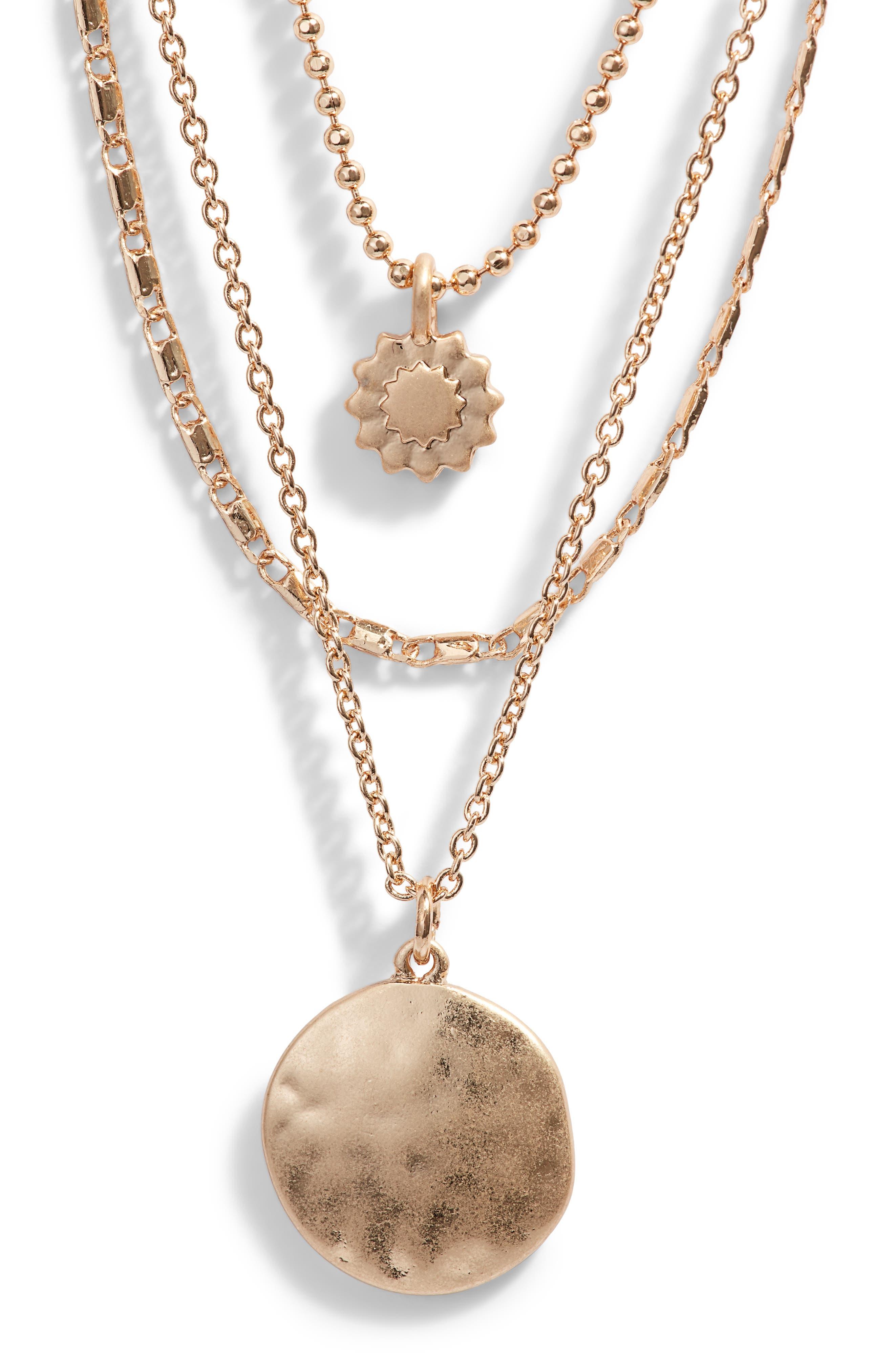 TREASURE & BOND Sunburst Multistrand Necklace, Main, color, GOLD