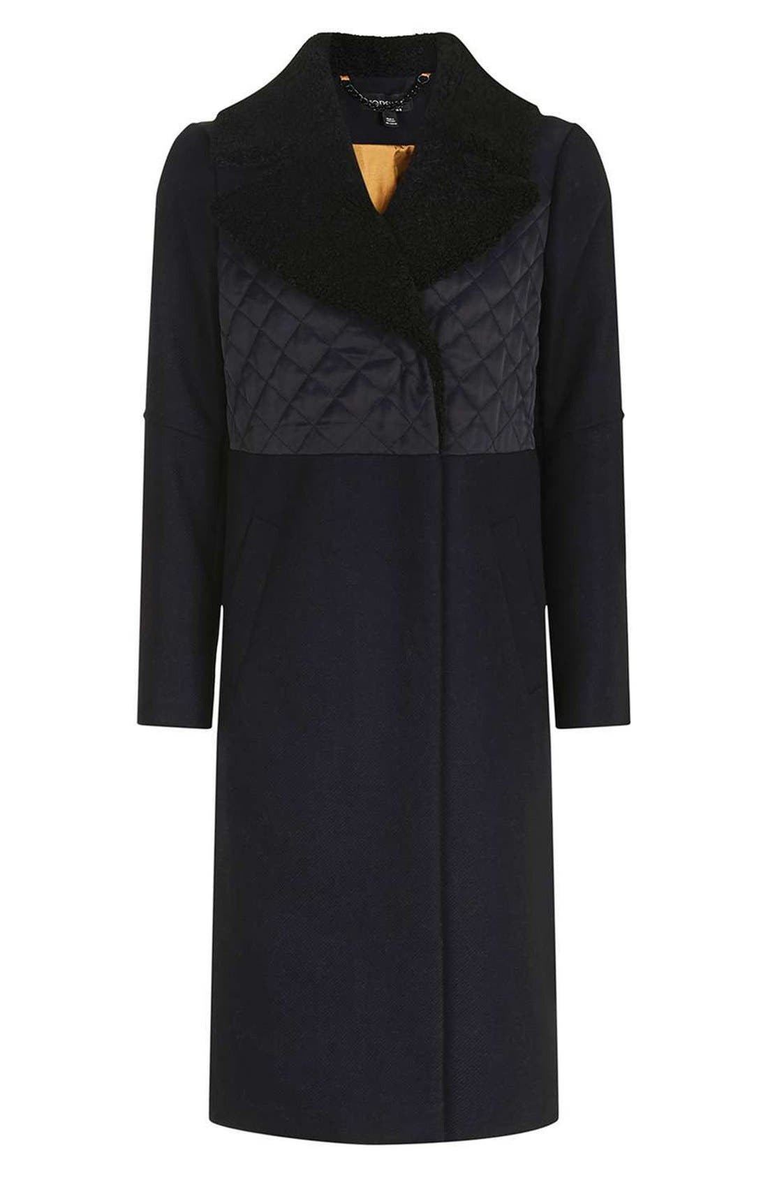 TOPSHOP, Faux Shearling Collar Coat, Alternate thumbnail 5, color, 410