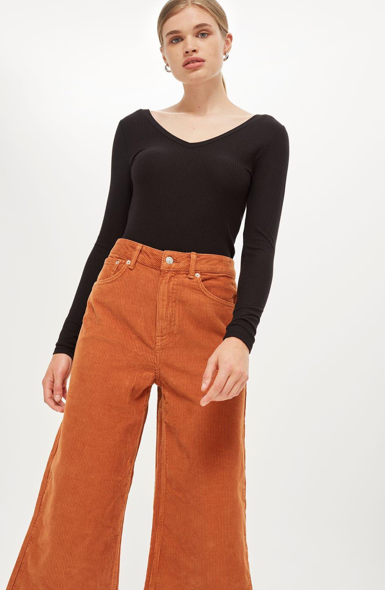 TOPSHOP, Wide Leg Corduroy Trousers, Alternate thumbnail 5, color, 210