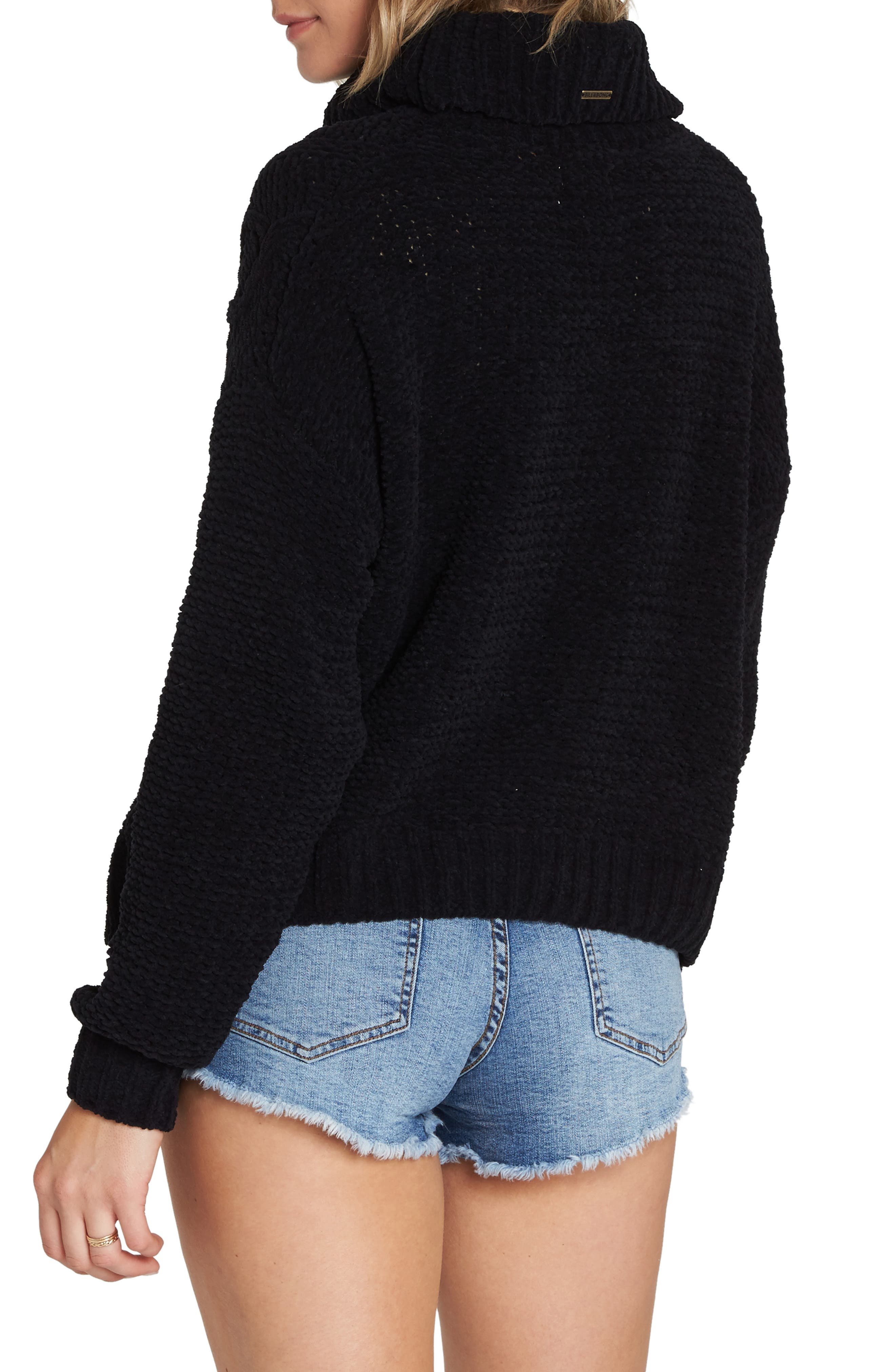 BILLABONG, Cable Knit Turtleneck Sweater, Alternate thumbnail 2, color, 001