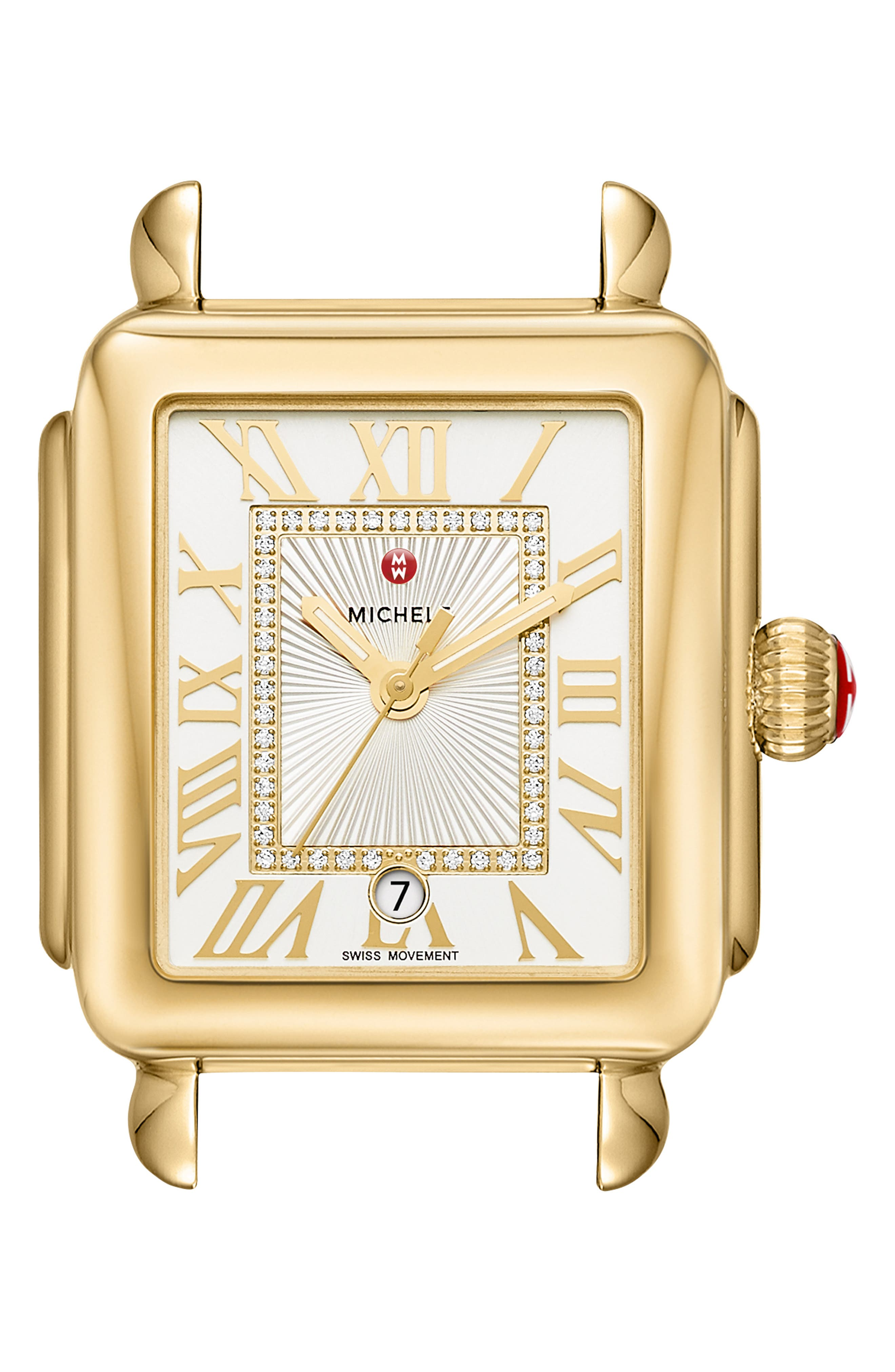 MICHELE, Deco Madison Diamond Dial Watch Case, 33mm x 35mm, Main thumbnail 1, color, GOLD/ WHITE/ SILVER