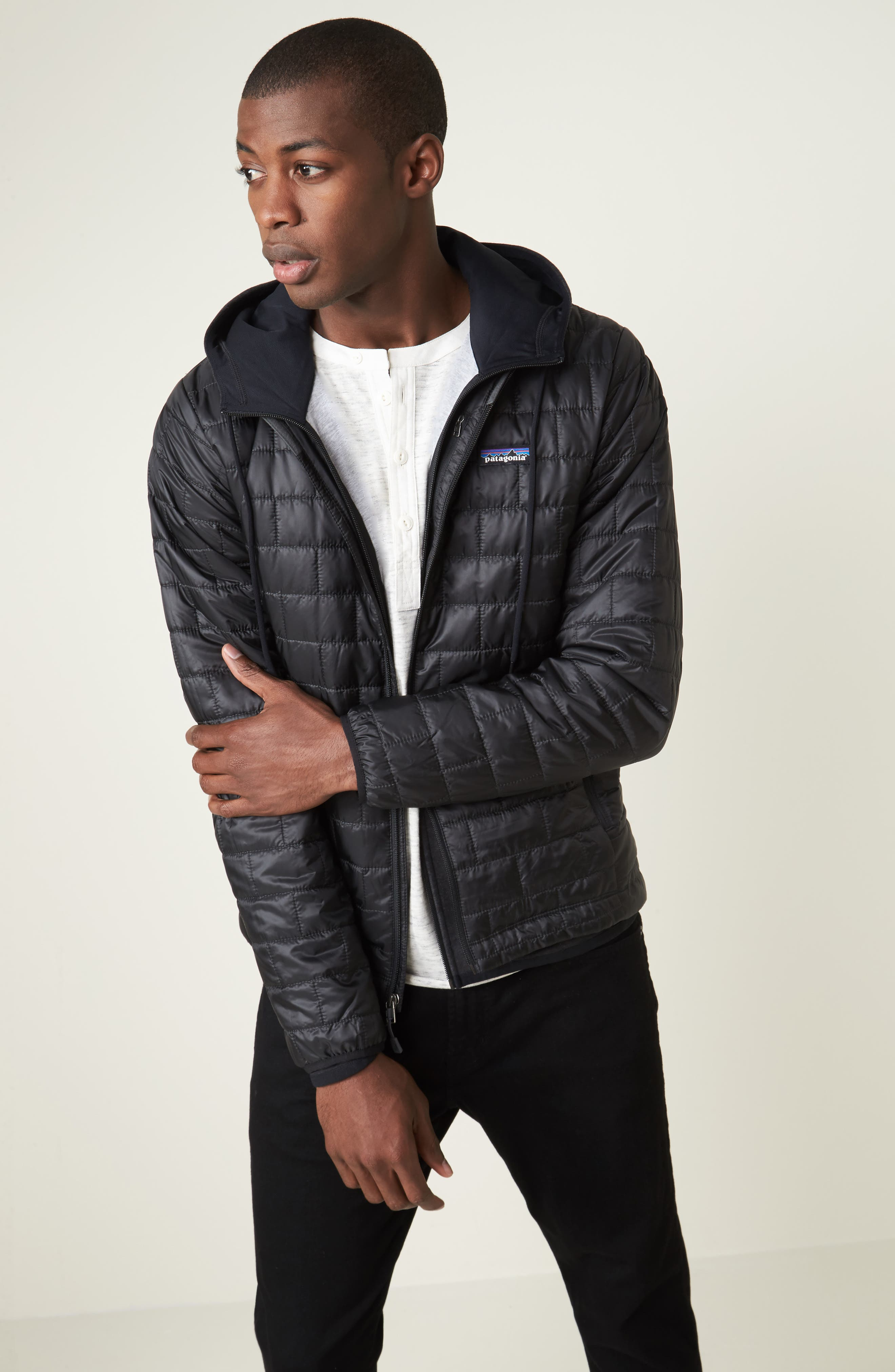 PATAGONIA, 'Nano Puff<sup>®</sup>' Water Resistant Jacket, Alternate thumbnail 8, color, BLACK