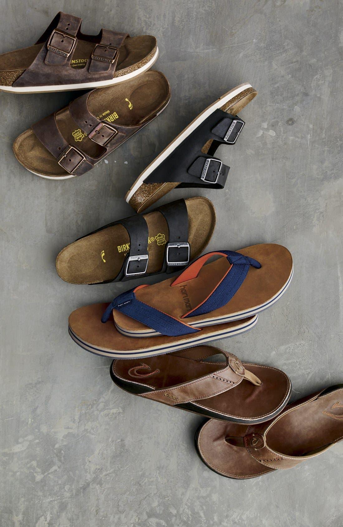 OLUKAI, 'Nui' Leather Flip Flop, Alternate thumbnail 7, color, LAVA ROCK LEATHER