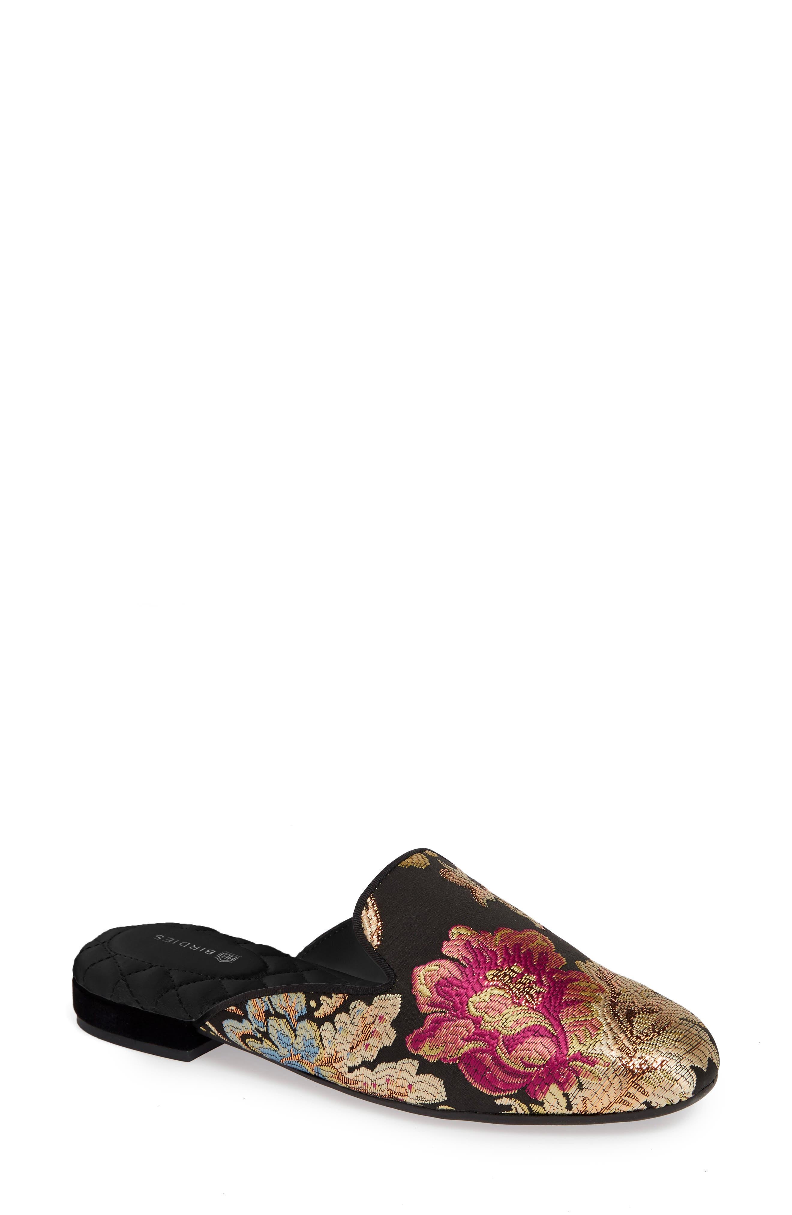 BIRDIES, Phoebe Slipper, Main thumbnail 1, color, FLORAL JACQUARD SATIN