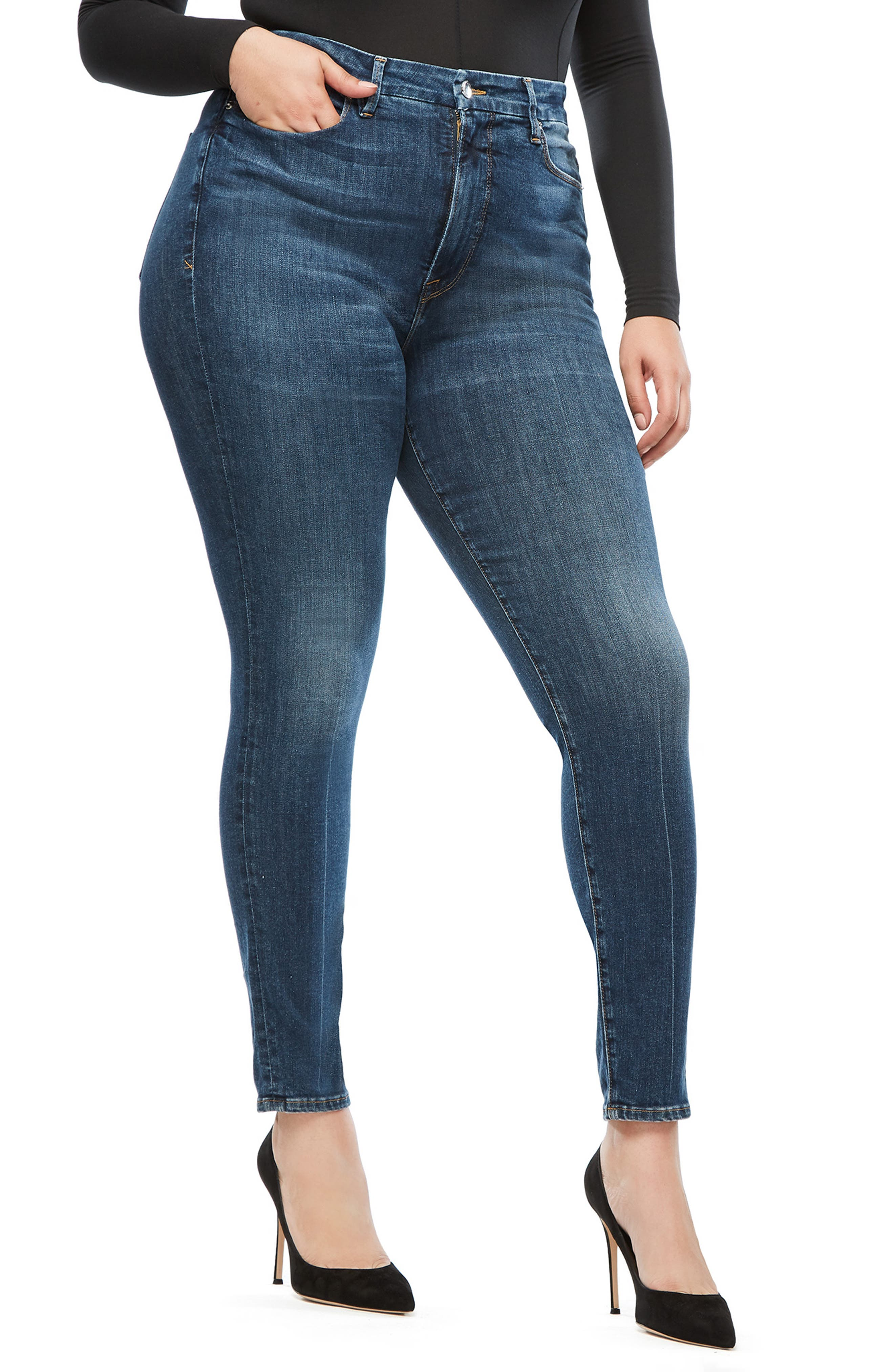 GOOD AMERICAN, Good Waist Ripped High Waist Skinny Jeans, Alternate thumbnail 8, color, BLUE 195