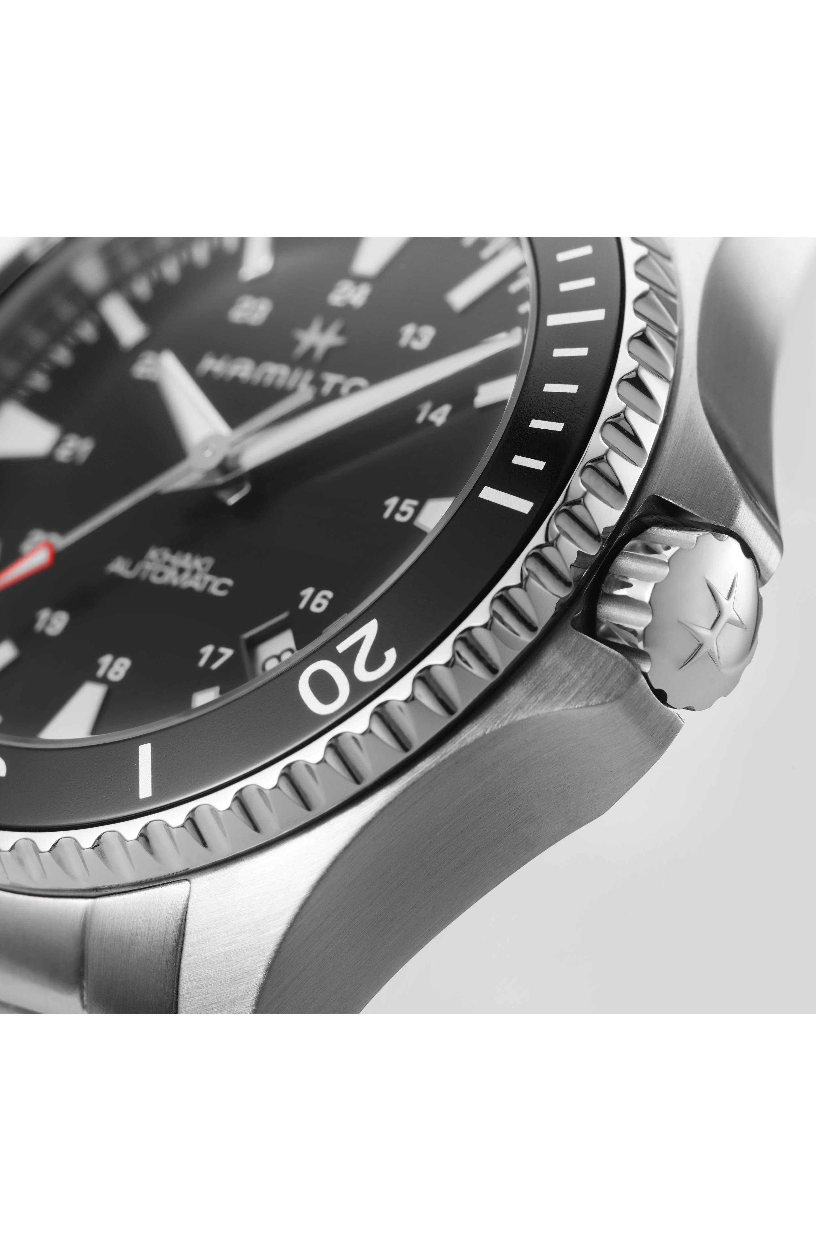 HAMILTON, Khaki Automatic Bracelet Watch, 40mm, Alternate thumbnail 4, color, SILVER/ BLACK/ SILVER