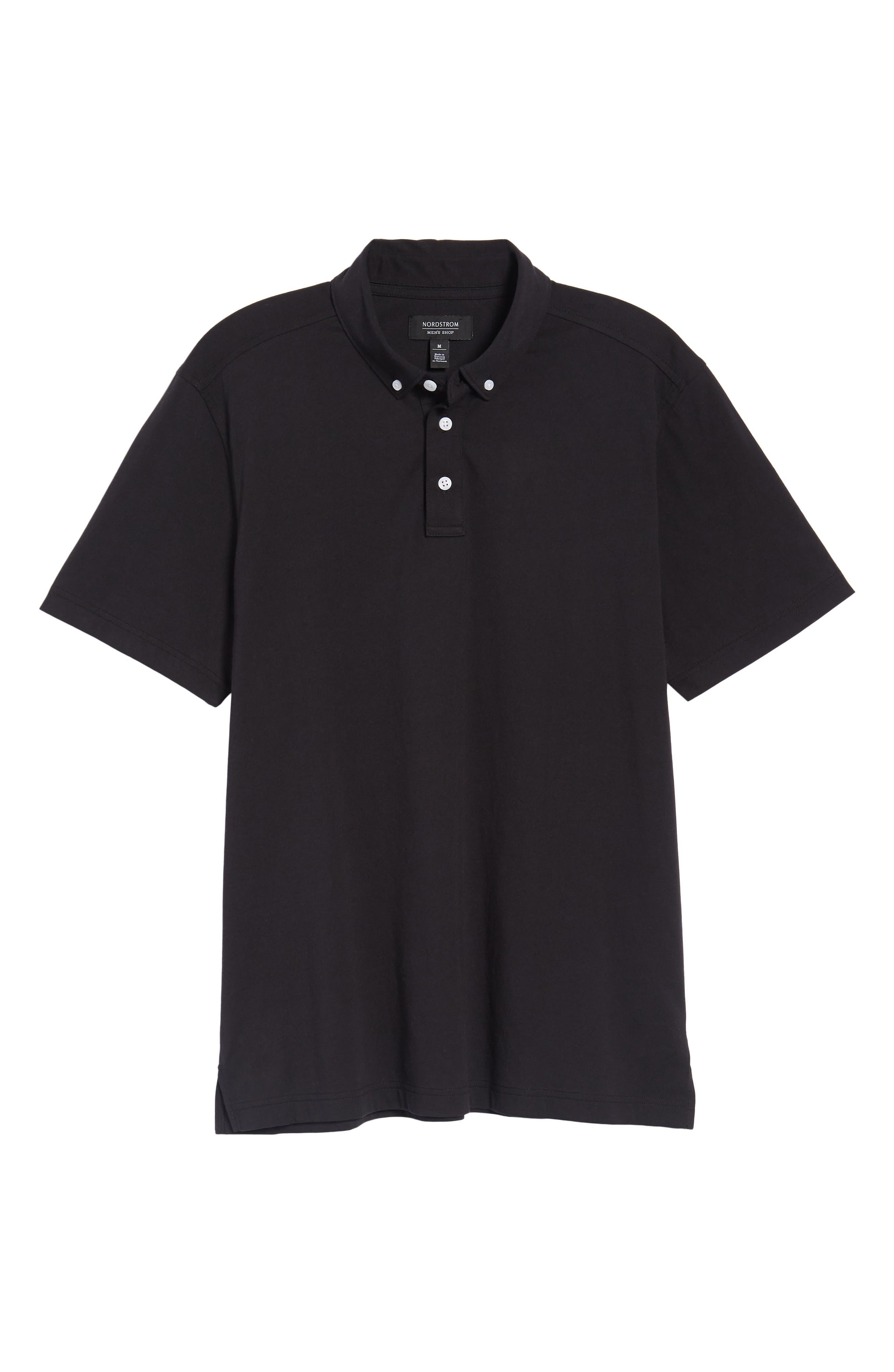NORDSTROM MEN'S SHOP, Regular Fit Polo, Alternate thumbnail 6, color, BLACK