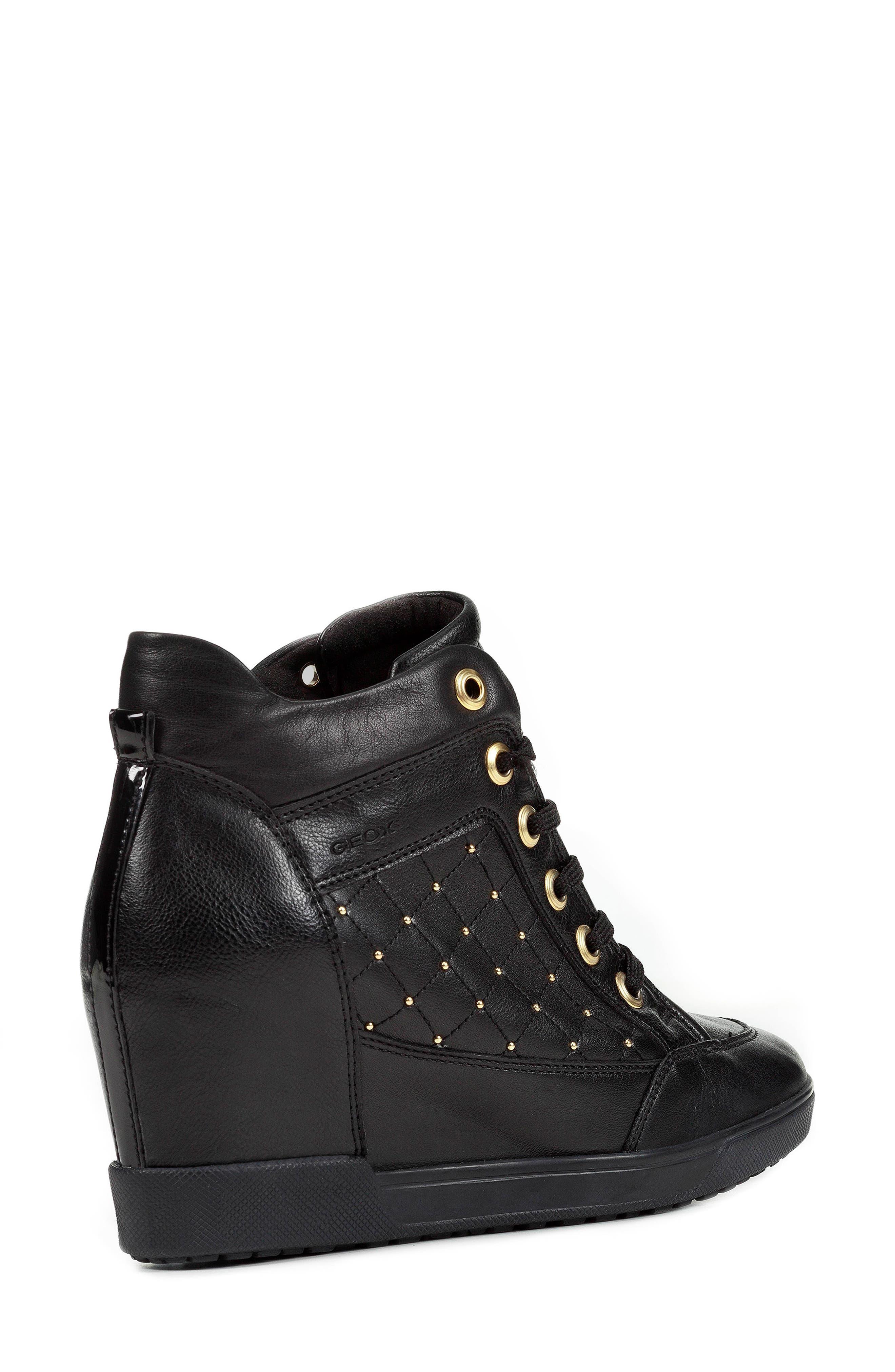 GEOX, Carum Wedge Sneaker, Alternate thumbnail 2, color, 001