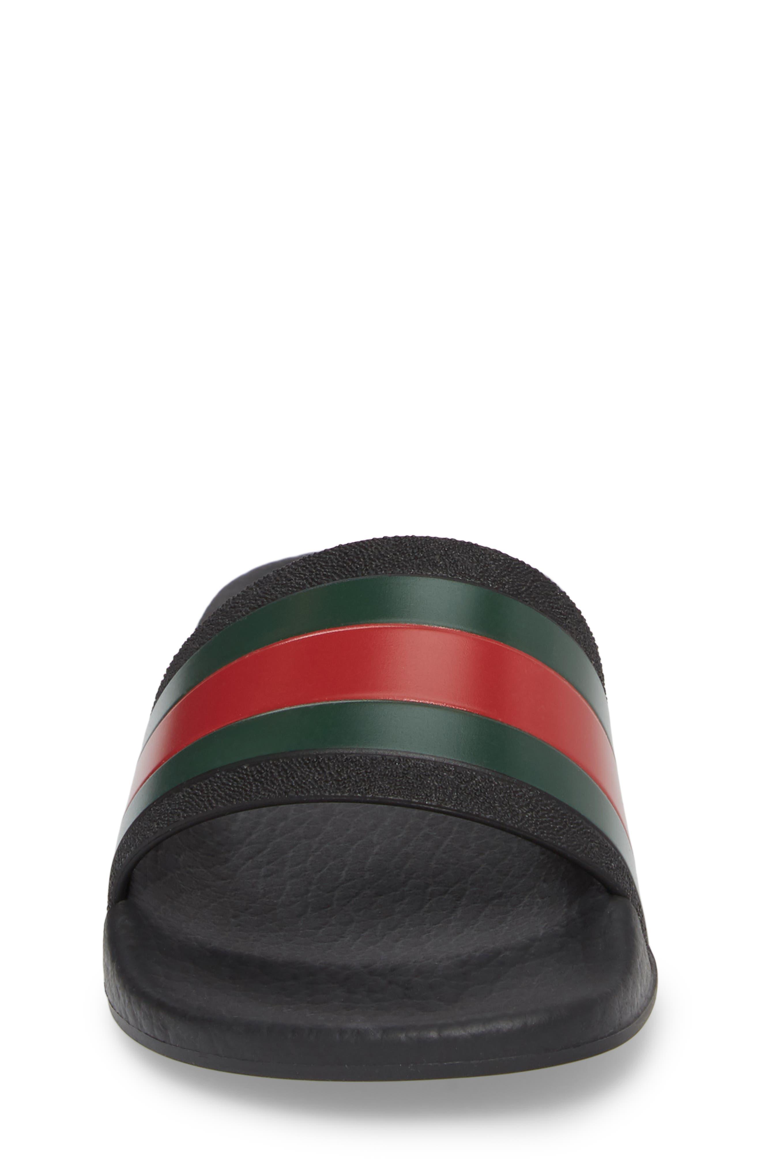 GUCCI, Pursuit Slide Sandal, Alternate thumbnail 4, color, BLACK/ GREEN/ RED