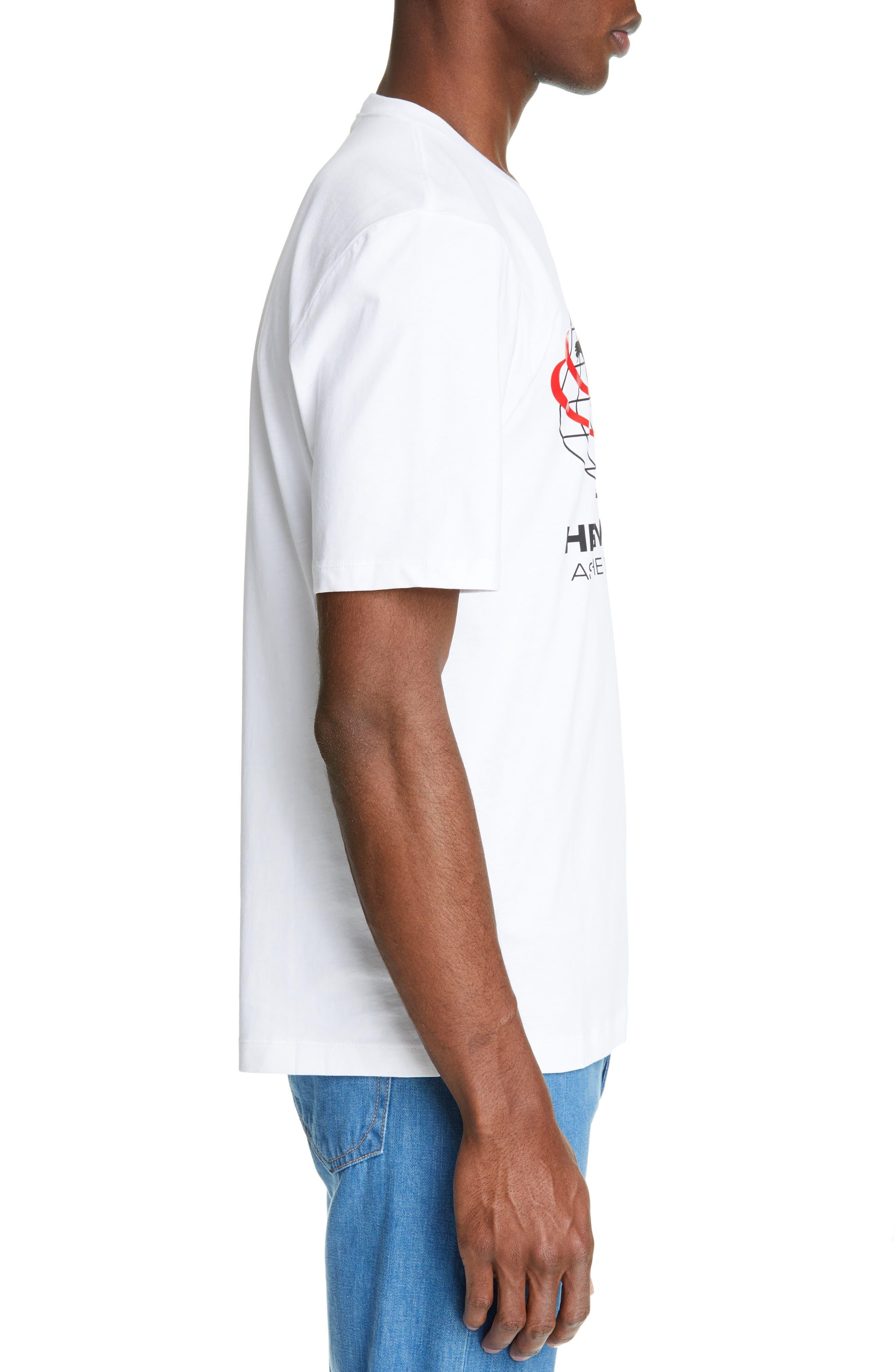 HELMUT LANG, World Turns Graphic T-Shirt, Alternate thumbnail 3, color, CHALK WHITE