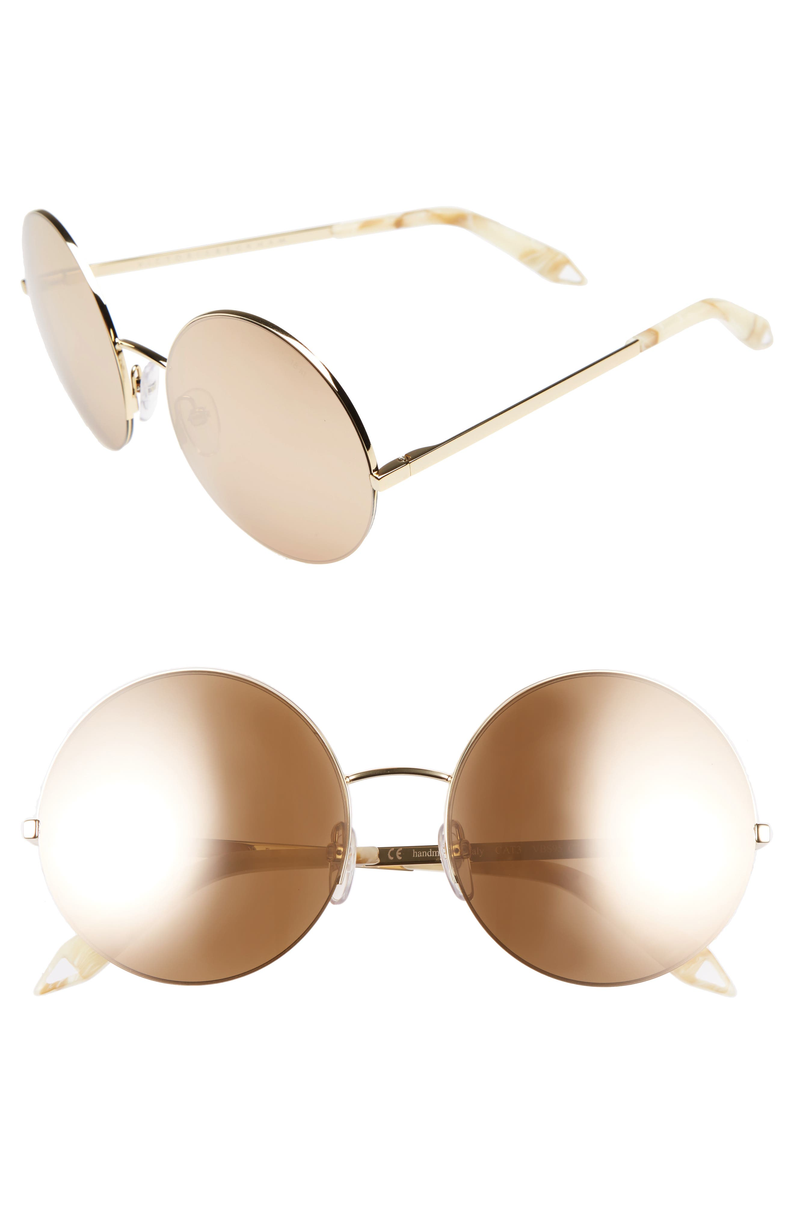 VICTORIA BECKHAM, 56mm Round Sunglasses, Main thumbnail 1, color, GOLD METALLIC/ GOLD MIRROR
