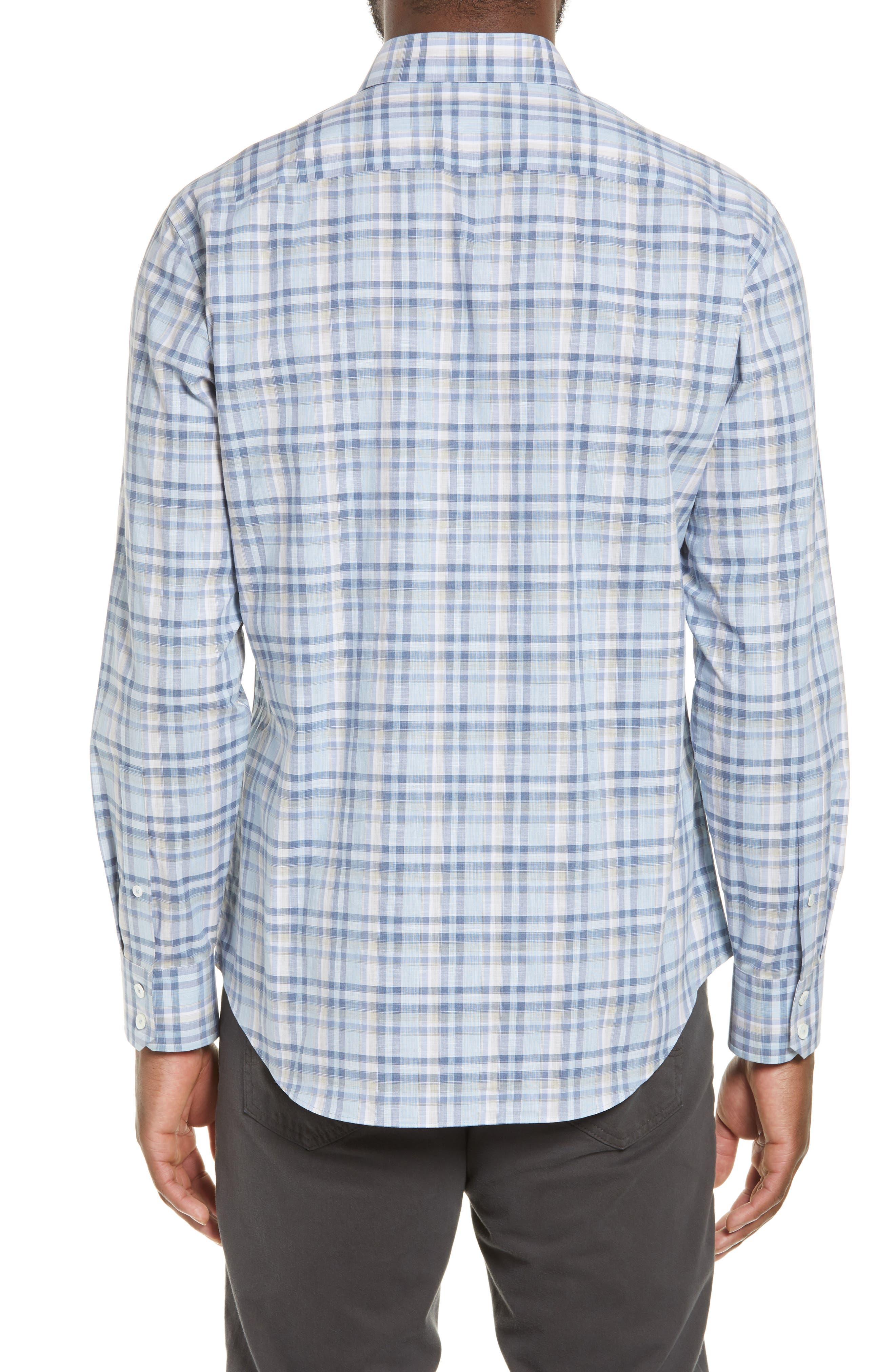 ZACHARY PRELL, Anthony Regular Fit Plaid Sport Shirt, Alternate thumbnail 3, color, LT BLUE
