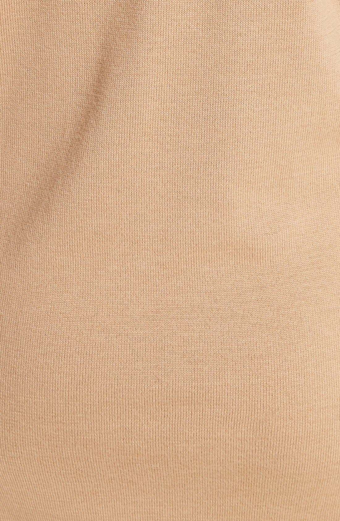 BURBERRY, Alewater Elbow Patch Merino Wool Dress, Alternate thumbnail 8, color, CAMEL