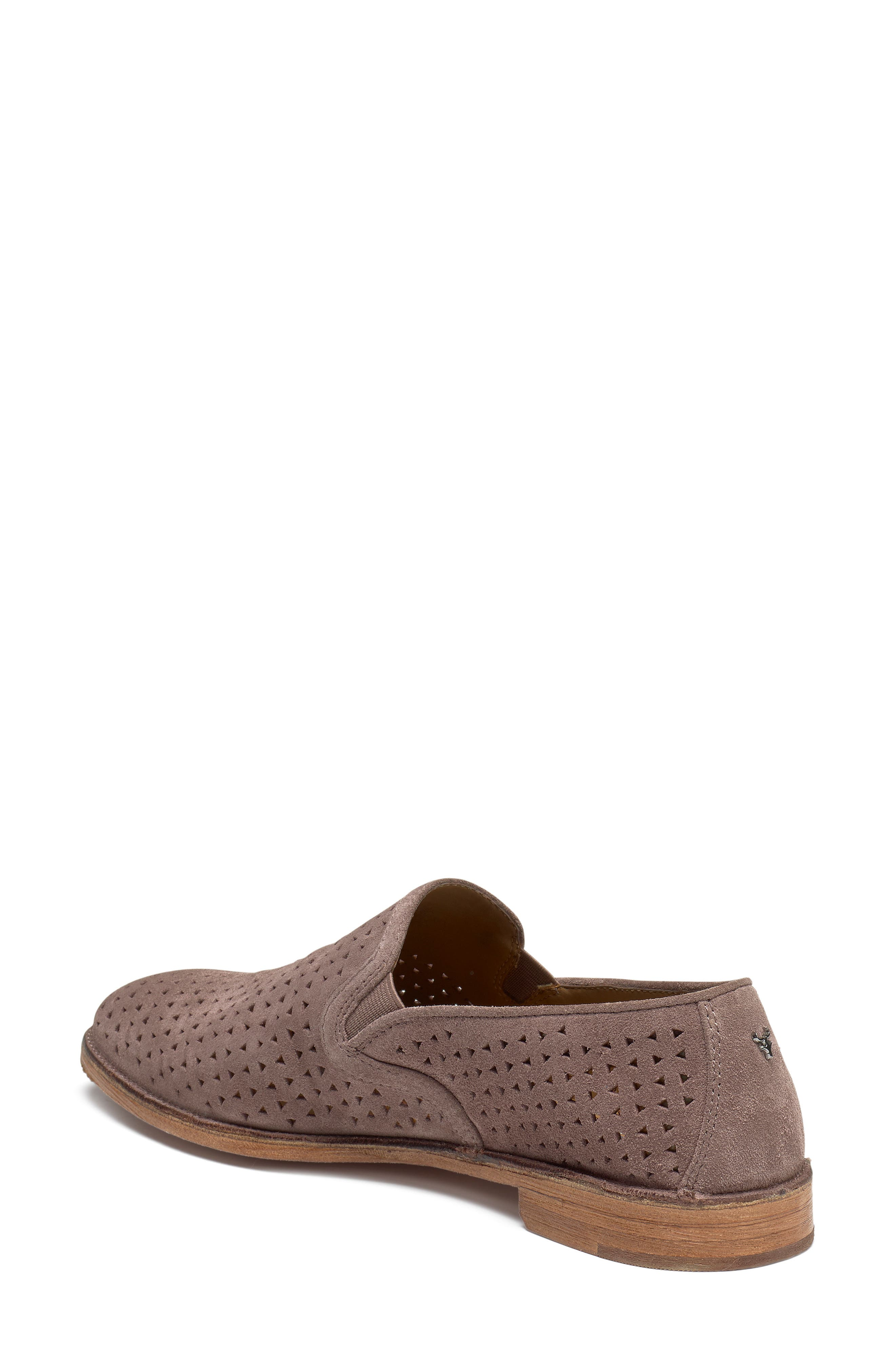 TRASK, Ali Perforated Loafer, Alternate thumbnail 2, color, BLUSH SUEDE