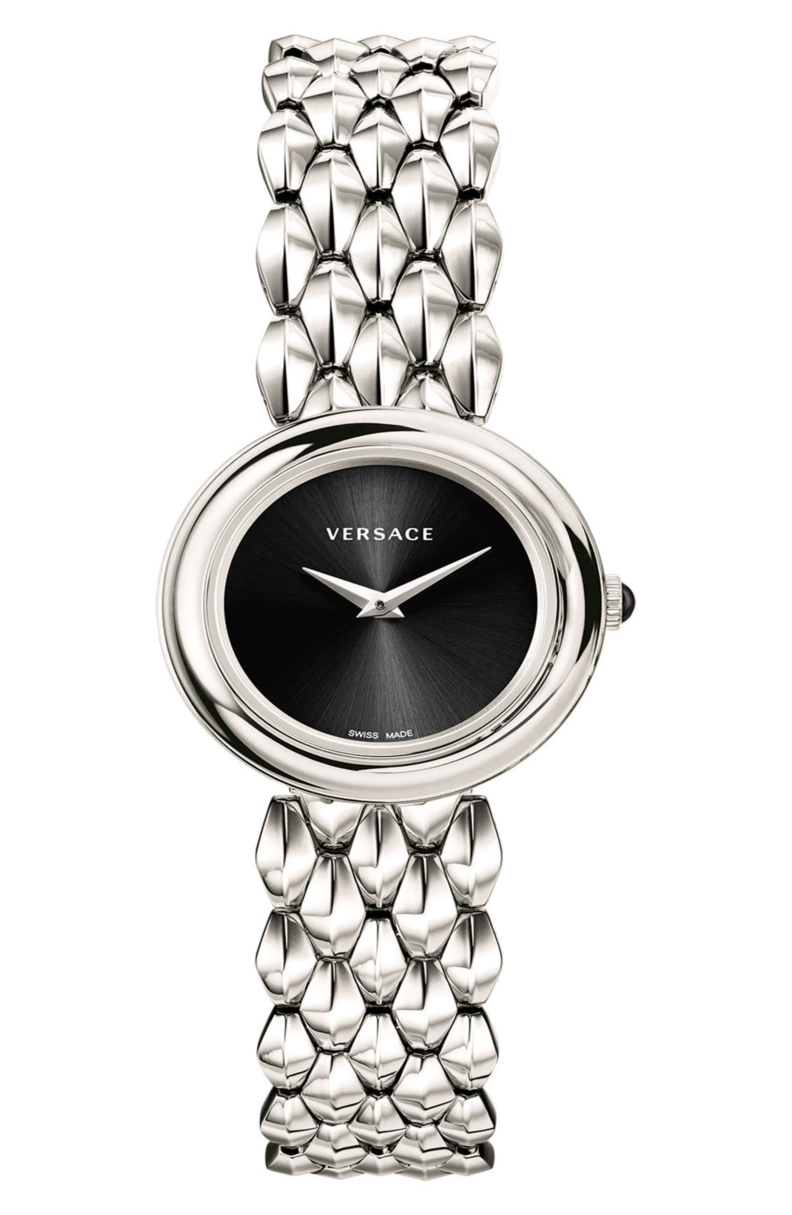 VERSACE, V-Flare Bracelet Watch, 28mm, Main thumbnail 1, color, SILVER/ BLACK/ SILVER