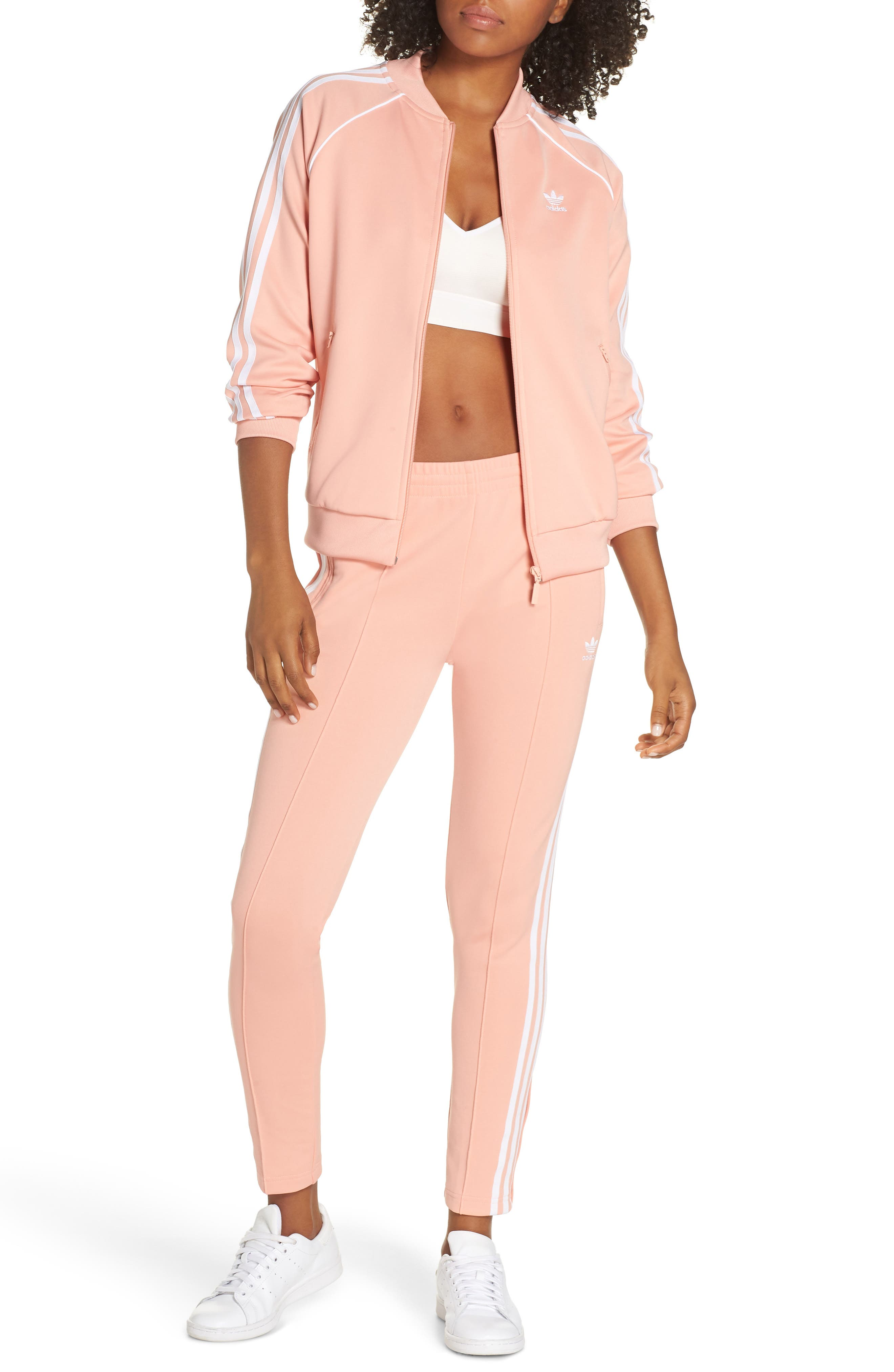 ADIDAS ORIGINALS, adidas SST Track Pants, Alternate thumbnail 8, color, DUST PINK