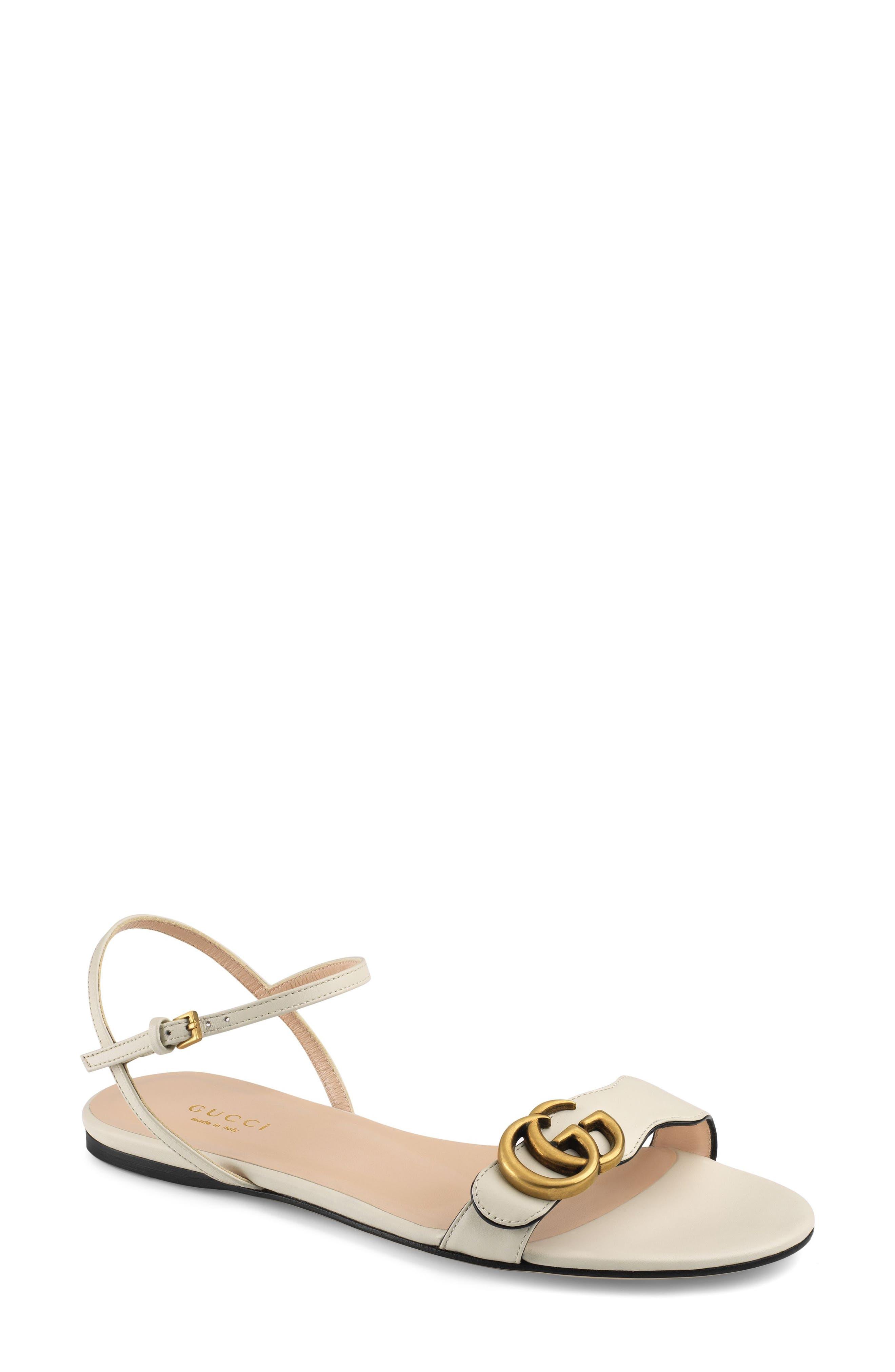 GUCCI, Marmont Quarter Strap Flat Sandal, Main thumbnail 1, color, MYSTIC WHITE