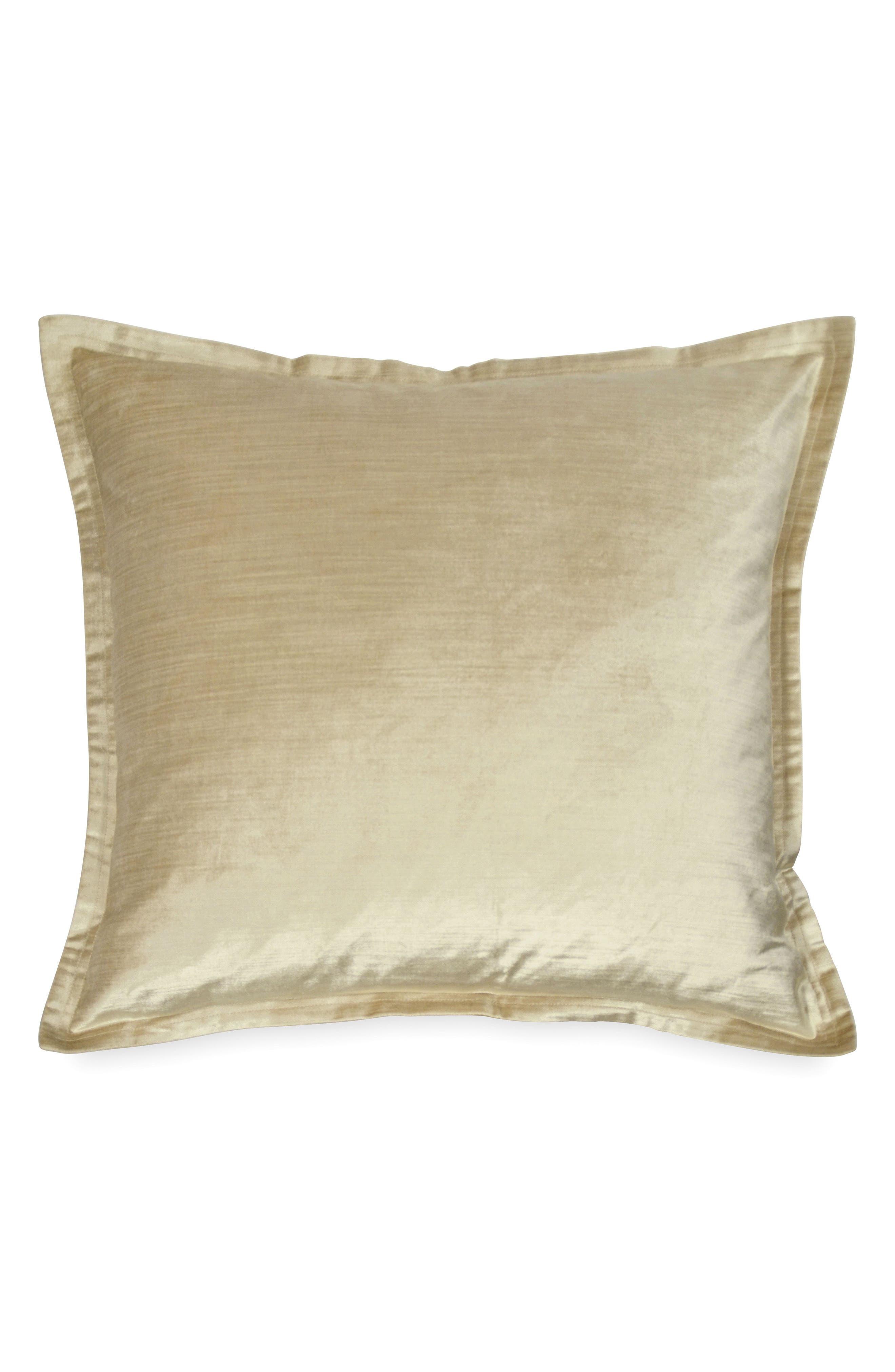 DONNA KARAN NEW YORK, Donna Karan Velvet Accent Pillow, Main thumbnail 1, color, GOLD DUST