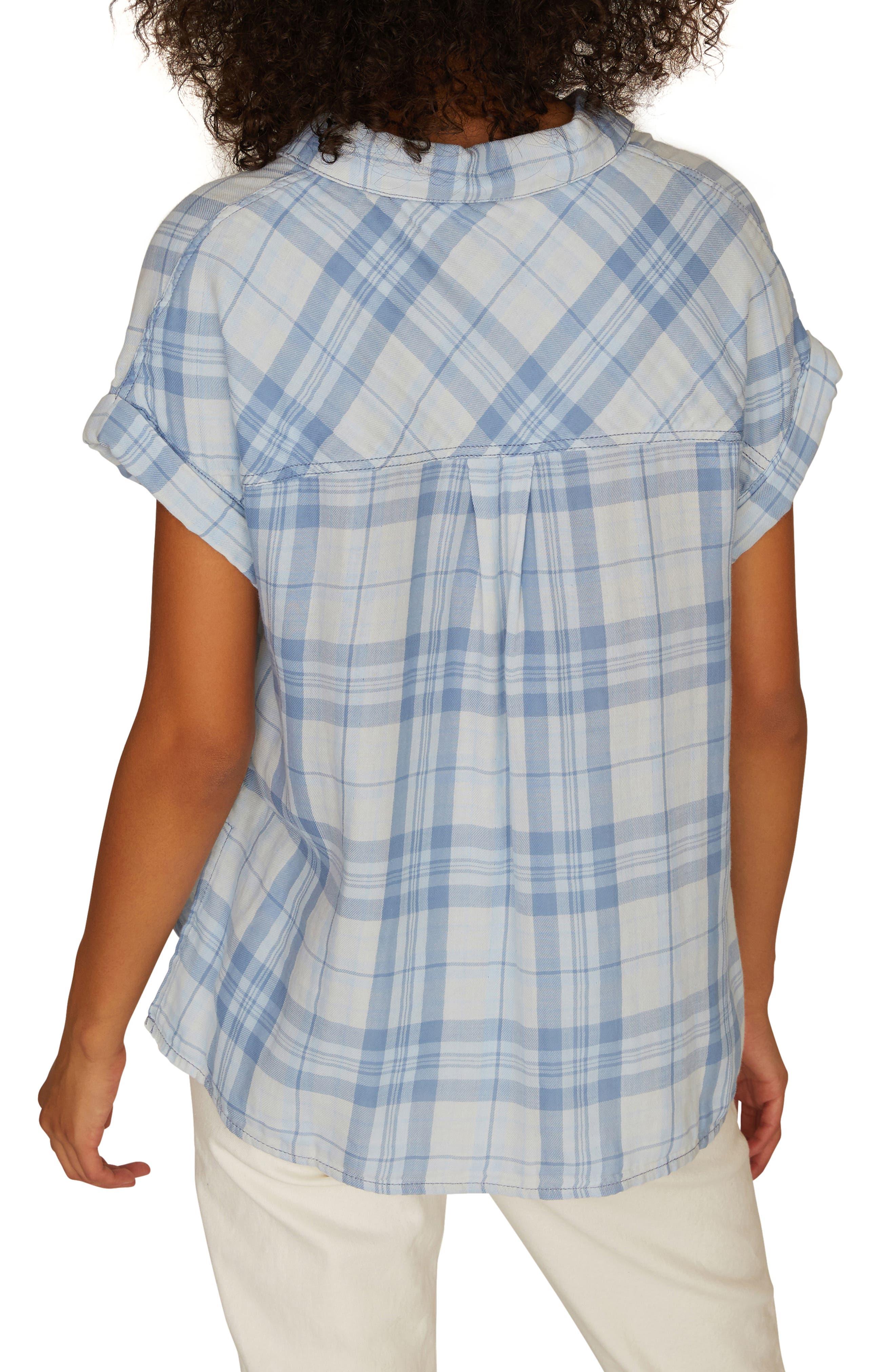 SANCTUARY, Mod Short Sleeve Boyfriend Shirt, Alternate thumbnail 2, color, BLEACH OUT WHITE