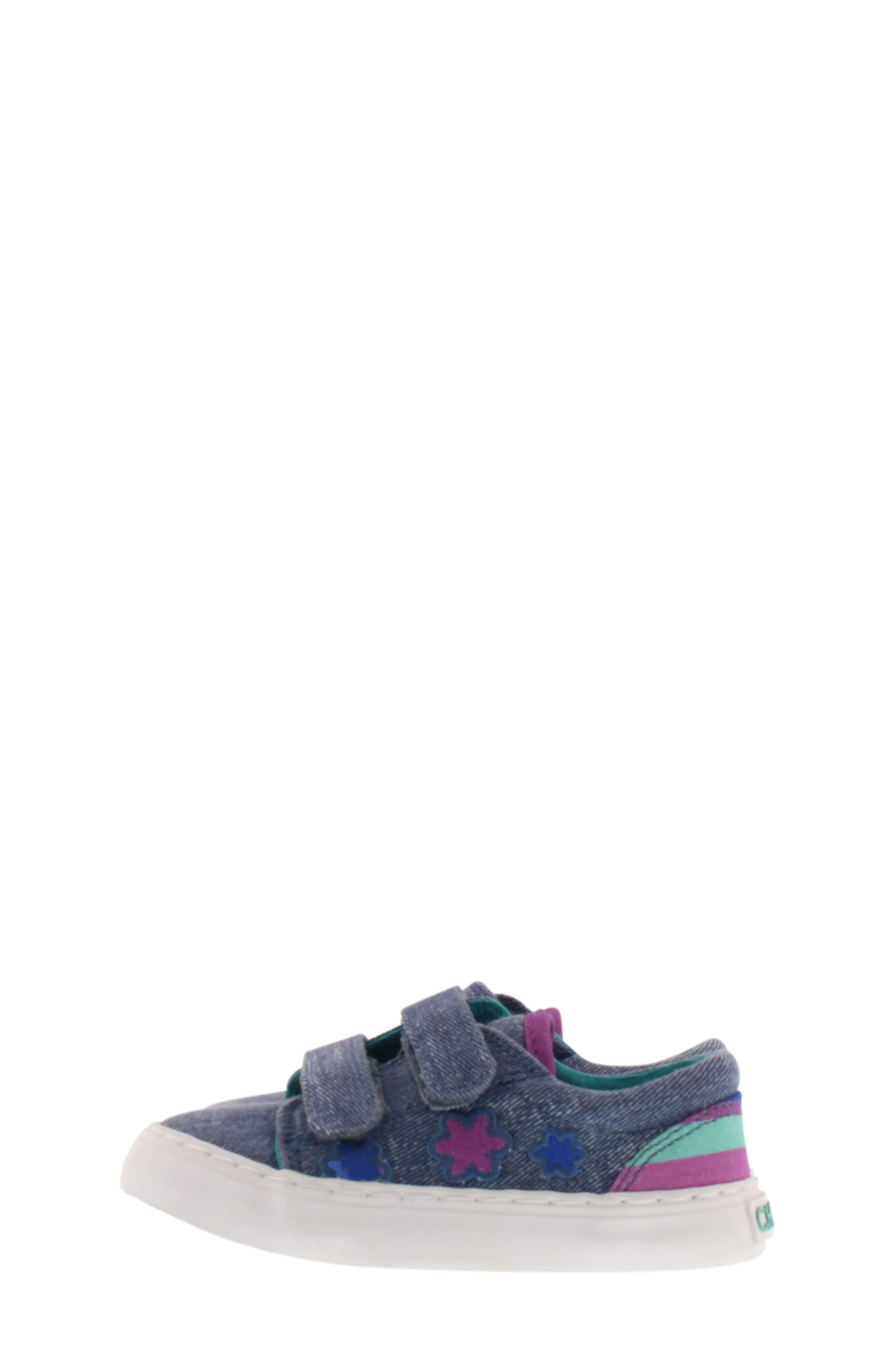 CHOOZE, Move Flower Appliqué Sneaker, Alternate thumbnail 3, color, DENIM