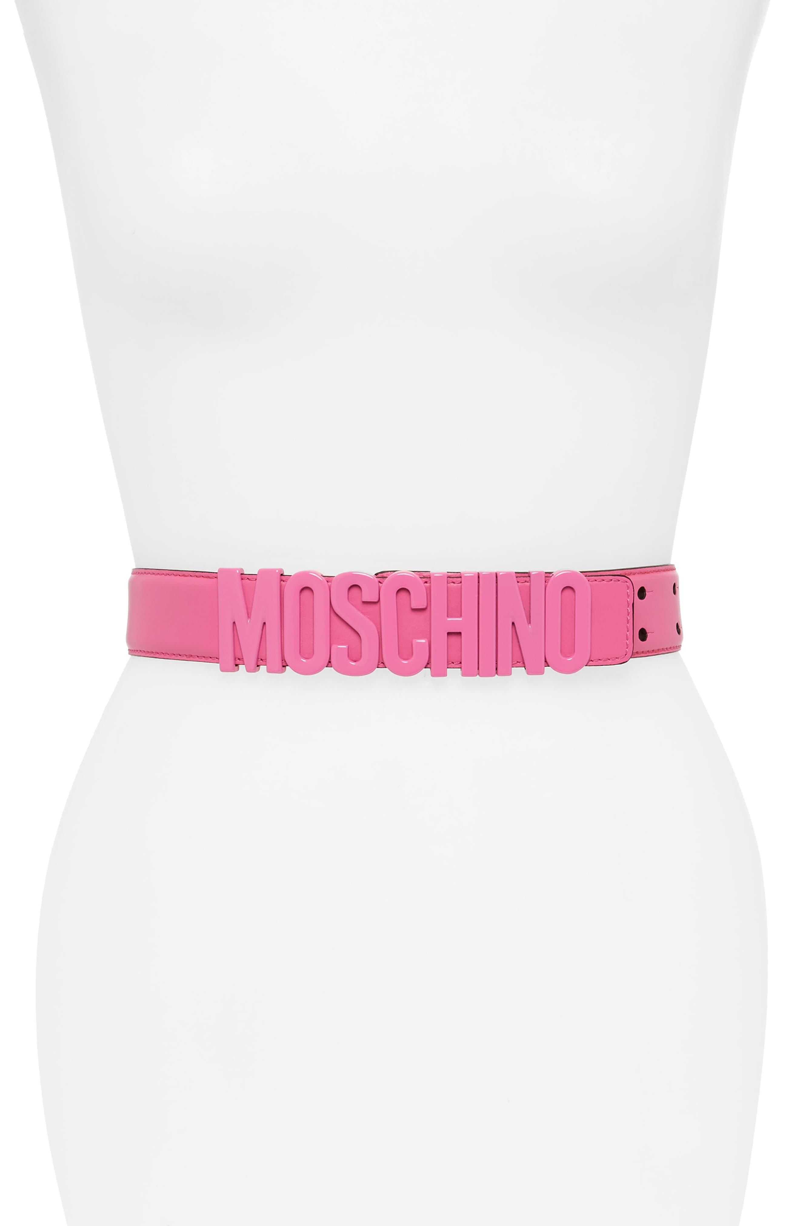 MOSCHINO Tonal Logo Belt, Main, color, FUSCIA