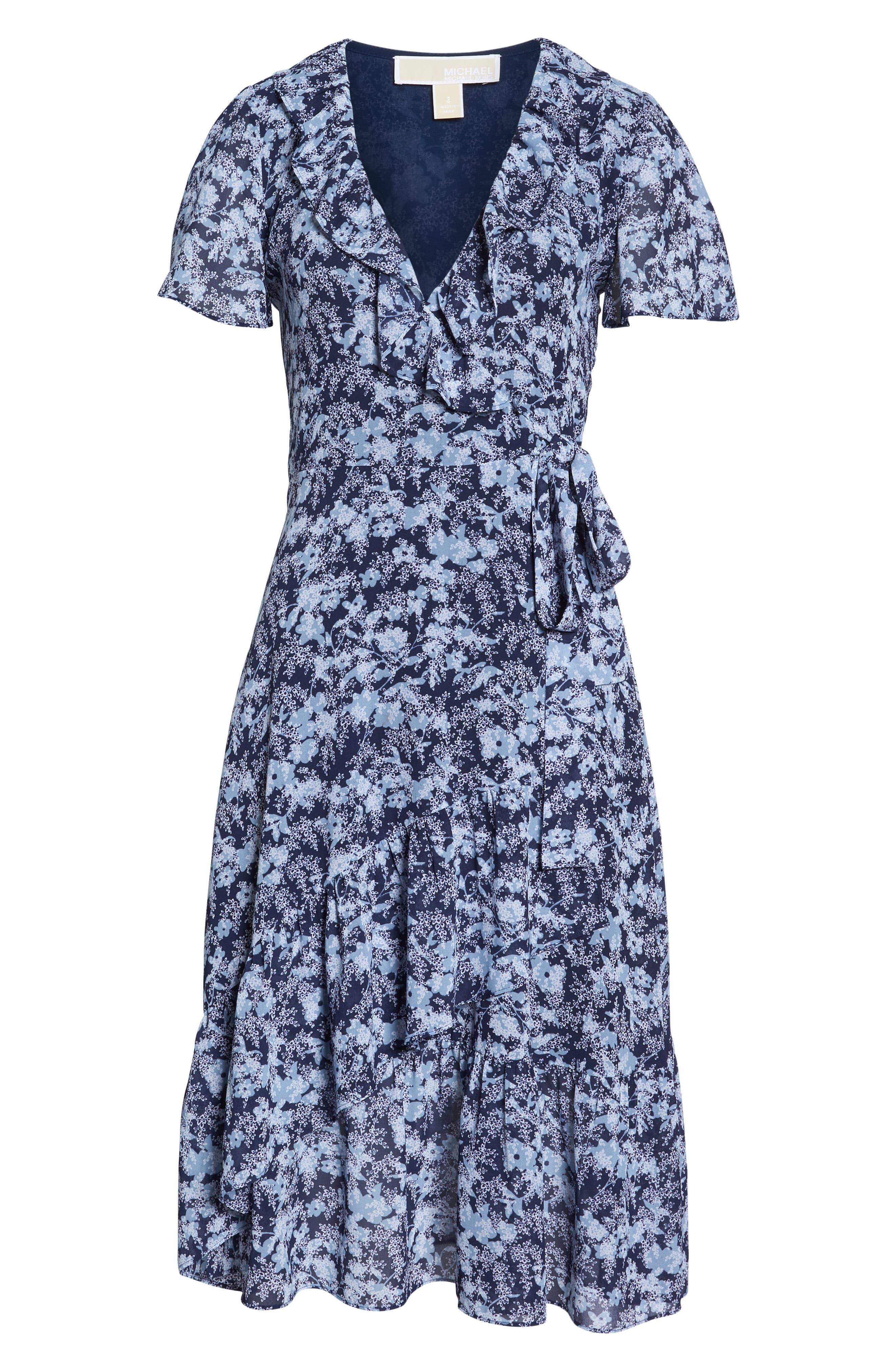 MICHAEL MICHAEL KORS, Ruffle Wrap Dress, Alternate thumbnail 7, color, TRUE NAVY/CHAMBRAY