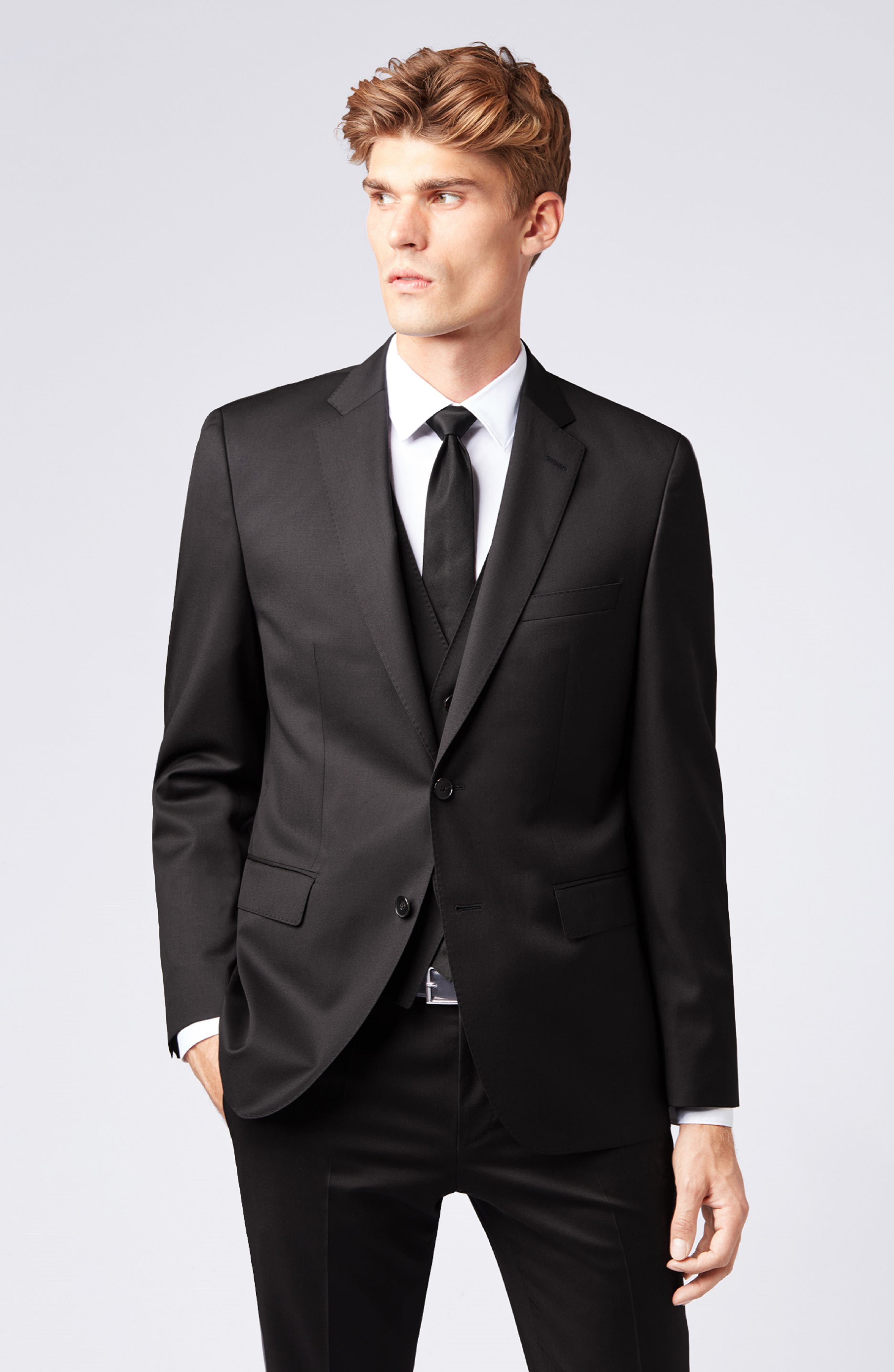 BOSS, Johnstons CYL Classic Fit Solid Wool Sport Coat, Alternate thumbnail 9, color, BLACK