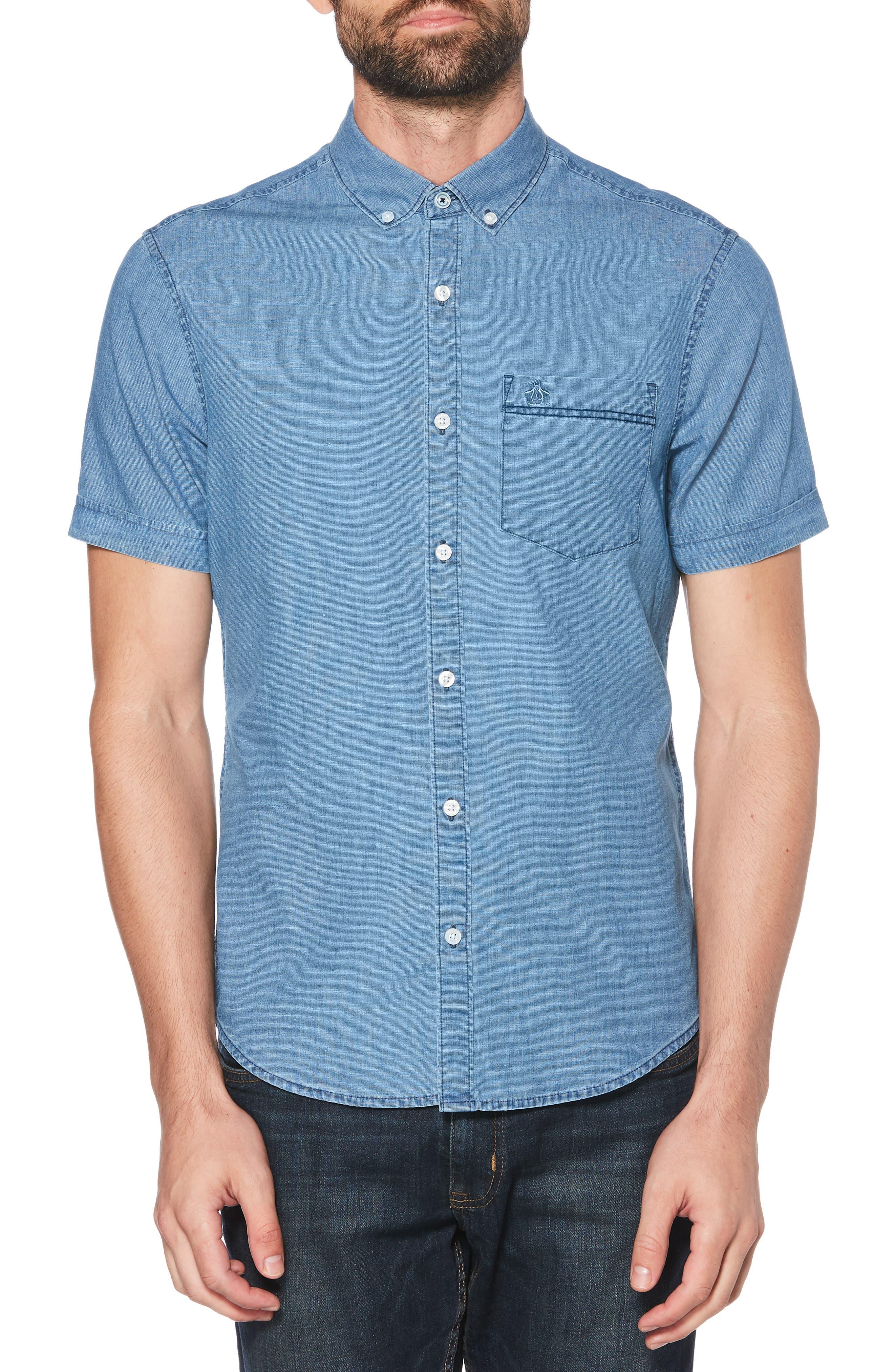 ORIGINAL PENGUIN, Pinpoint Slim Fit Chambray Shirt, Main thumbnail 1, color, 489