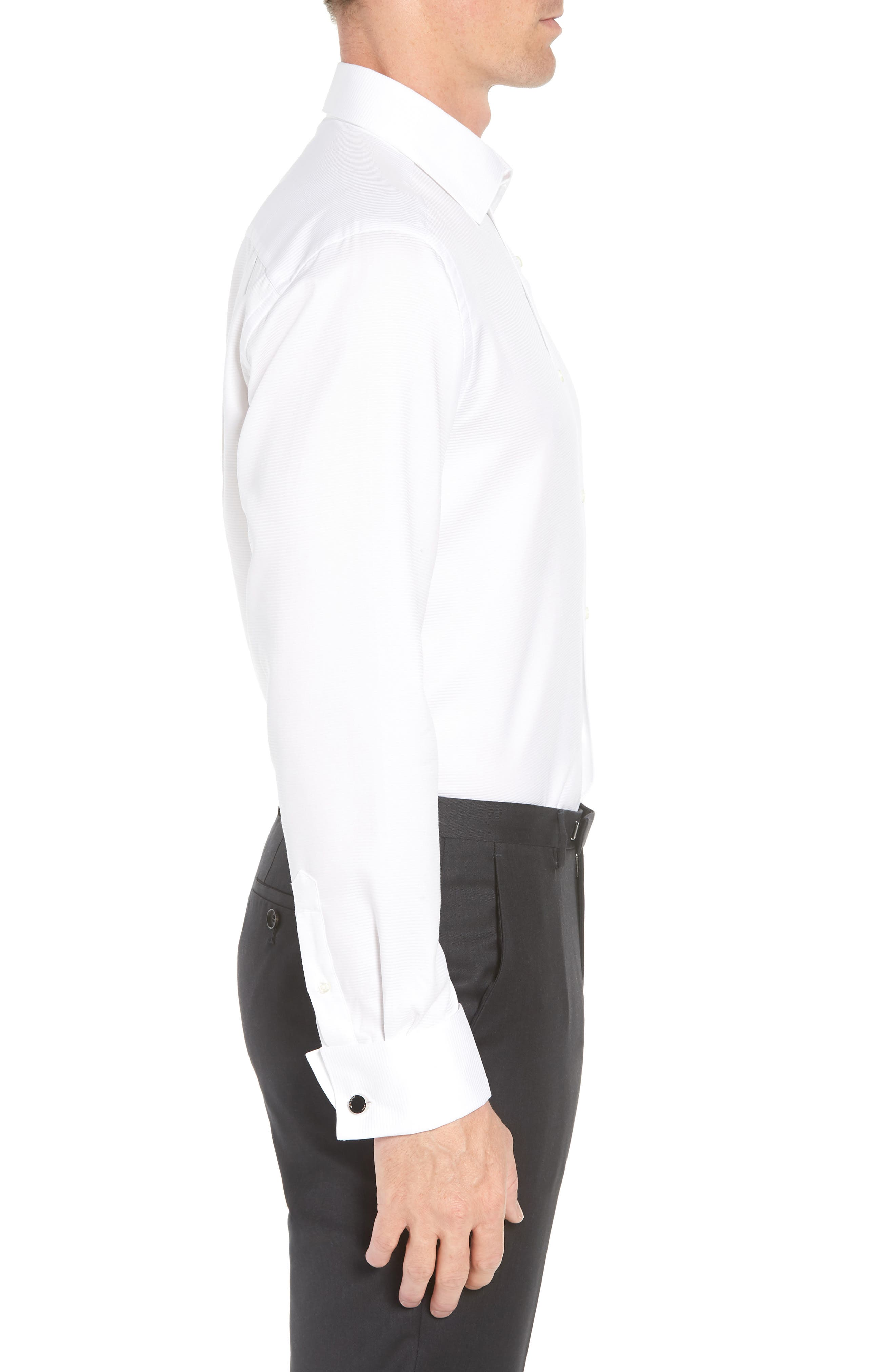DAVID DONAHUE, Horizontal Twill Regular Fit Tuxedo Shirt, Alternate thumbnail 4, color, WHITE