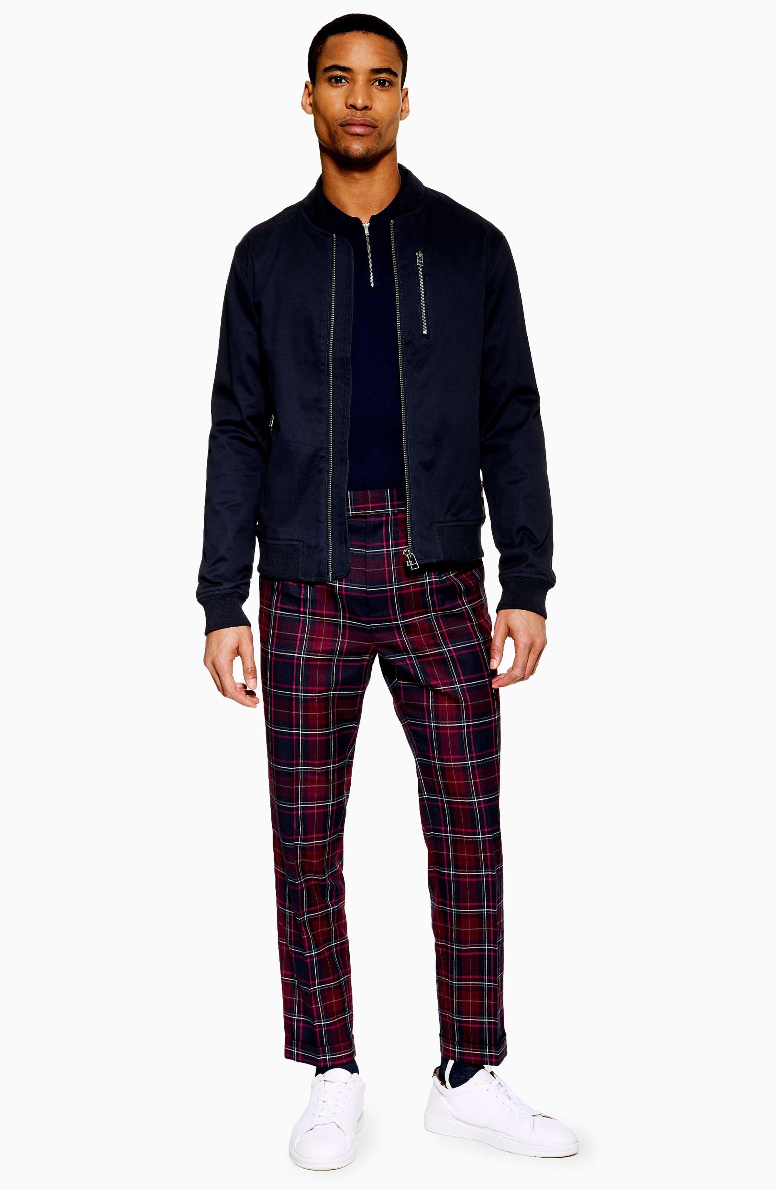 TOPMAN, Skinny Fit Check Trousers, Alternate thumbnail 4, color, BURGUNDY MULTI