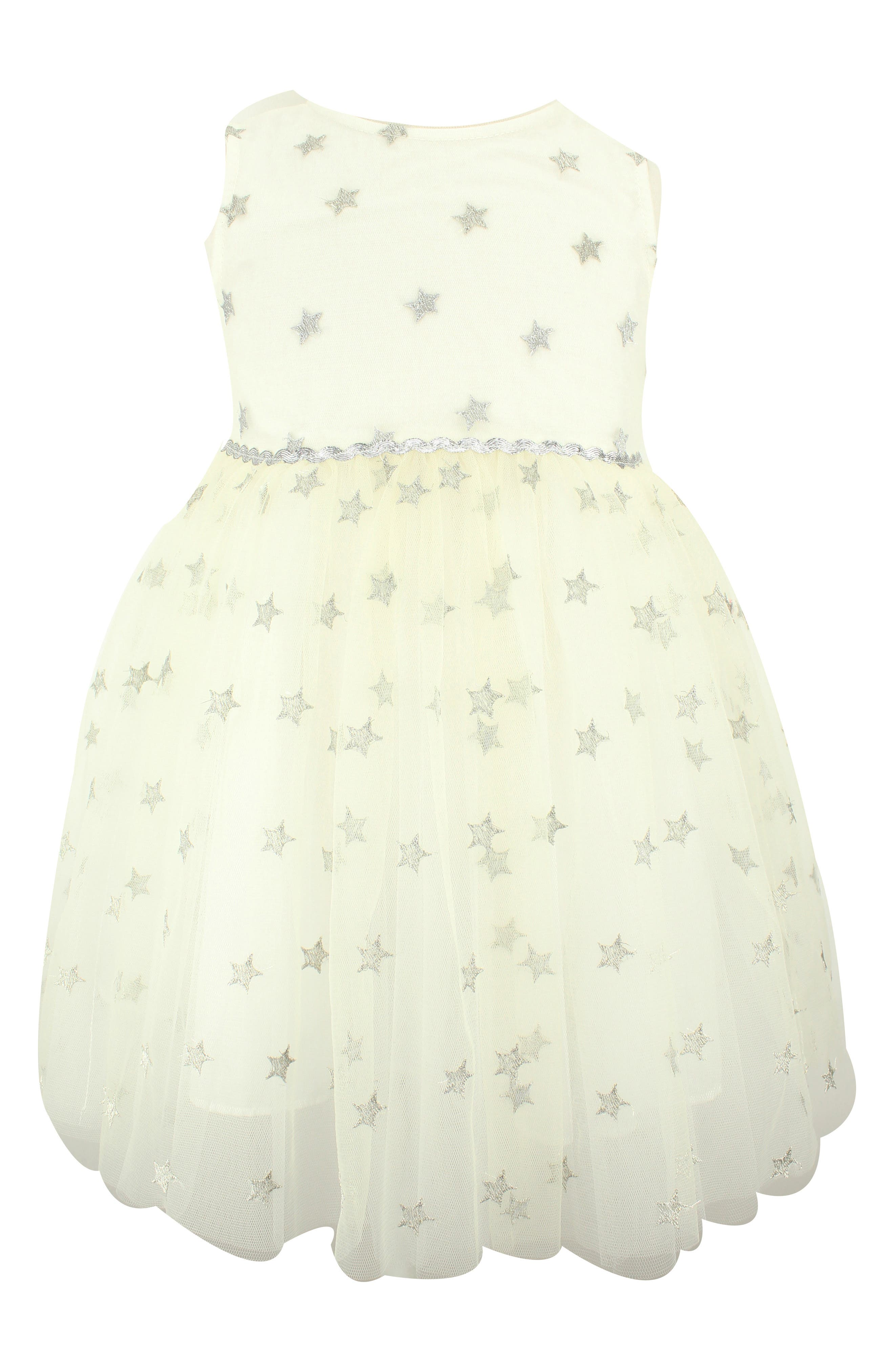 POPATU Metallic Star Tulle Dress, Main, color, SILVER/ WHITE