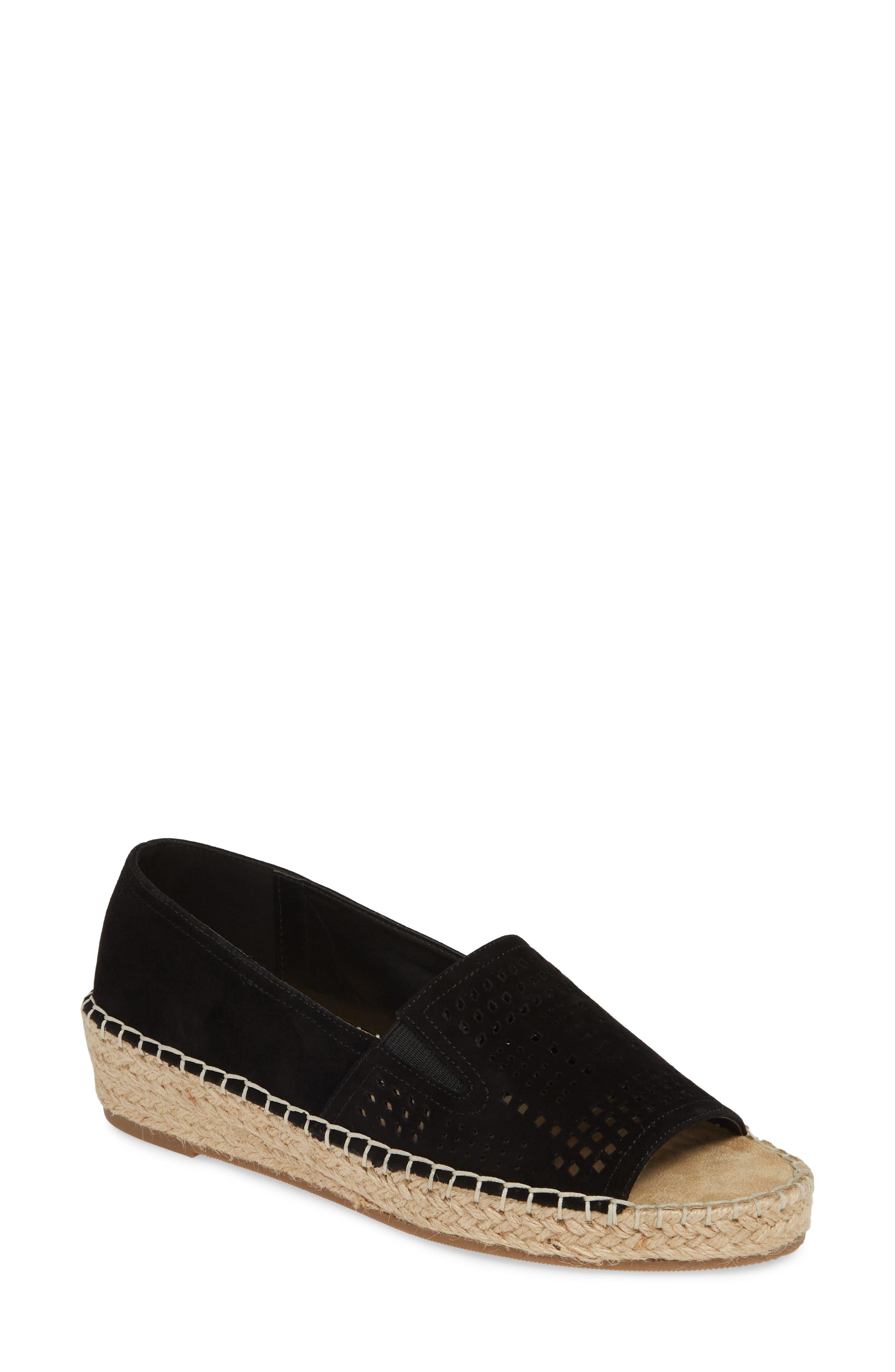 BELLA VITA Cora Open Toe Slip-On, Main, color, BLACK SUEDE